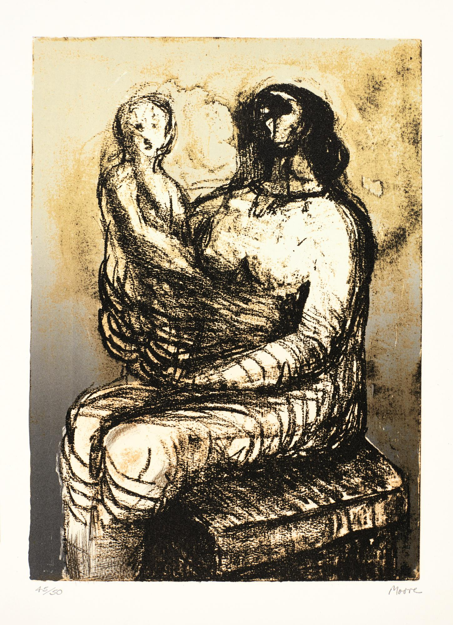 HENRY MOORE | MOTHER WITH CHILD ON LAP (C. 651)