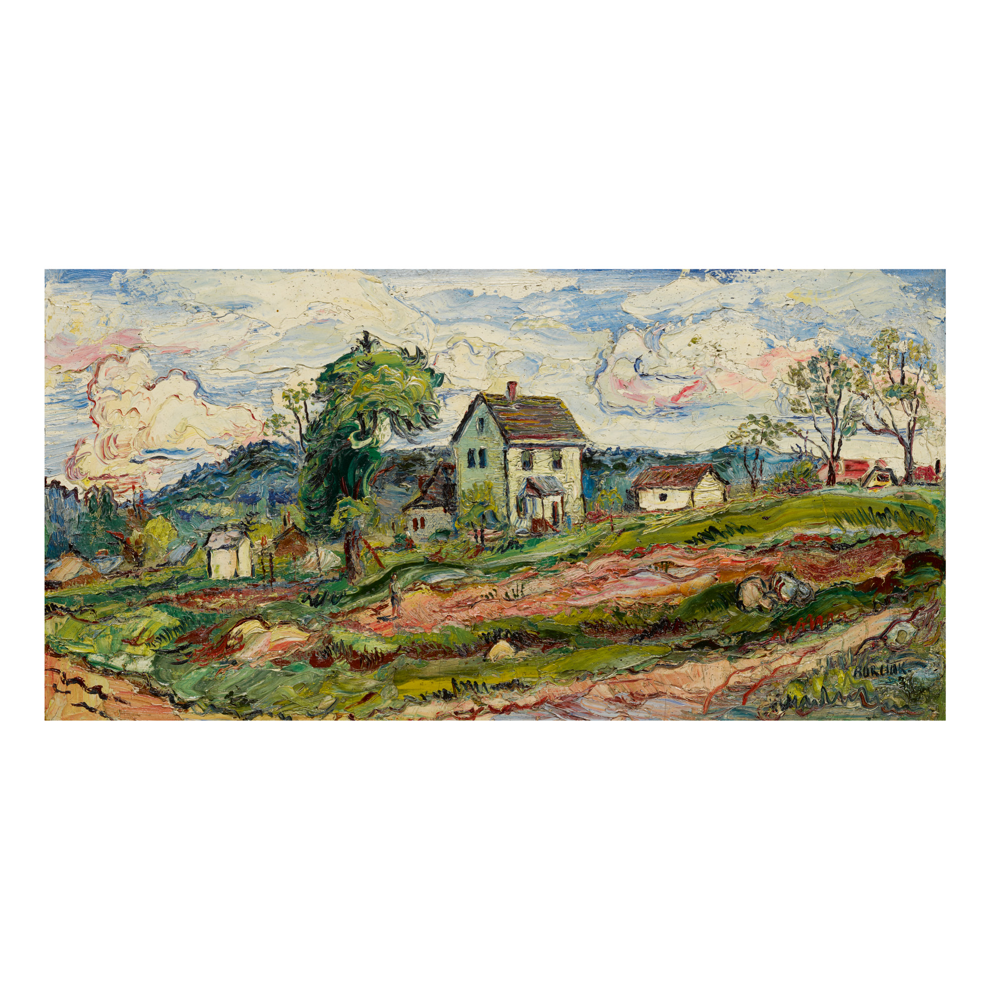 DAVID BURLIUK | LANDSCAPE WITH HOUSE