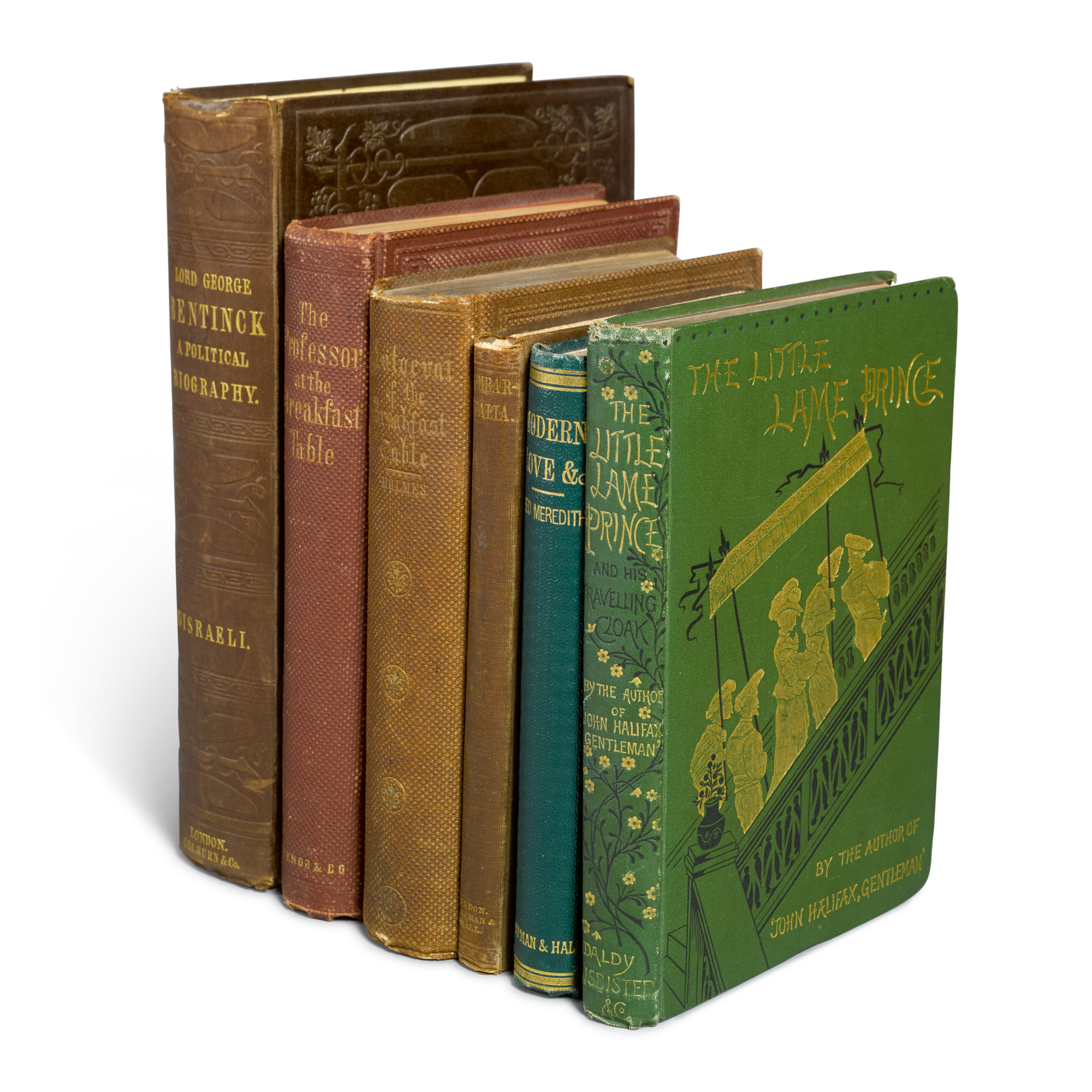 CLOUGH, ARTHUR HUGH, AND THOMAS BURBIDGE; DINAH MARIA MULOCK CRAIK; BENJAMIN DISRAELI; OLIVER WENDELL HOLMES; AND GEORGE MEREDITH | A Group of 19th Century First Editions