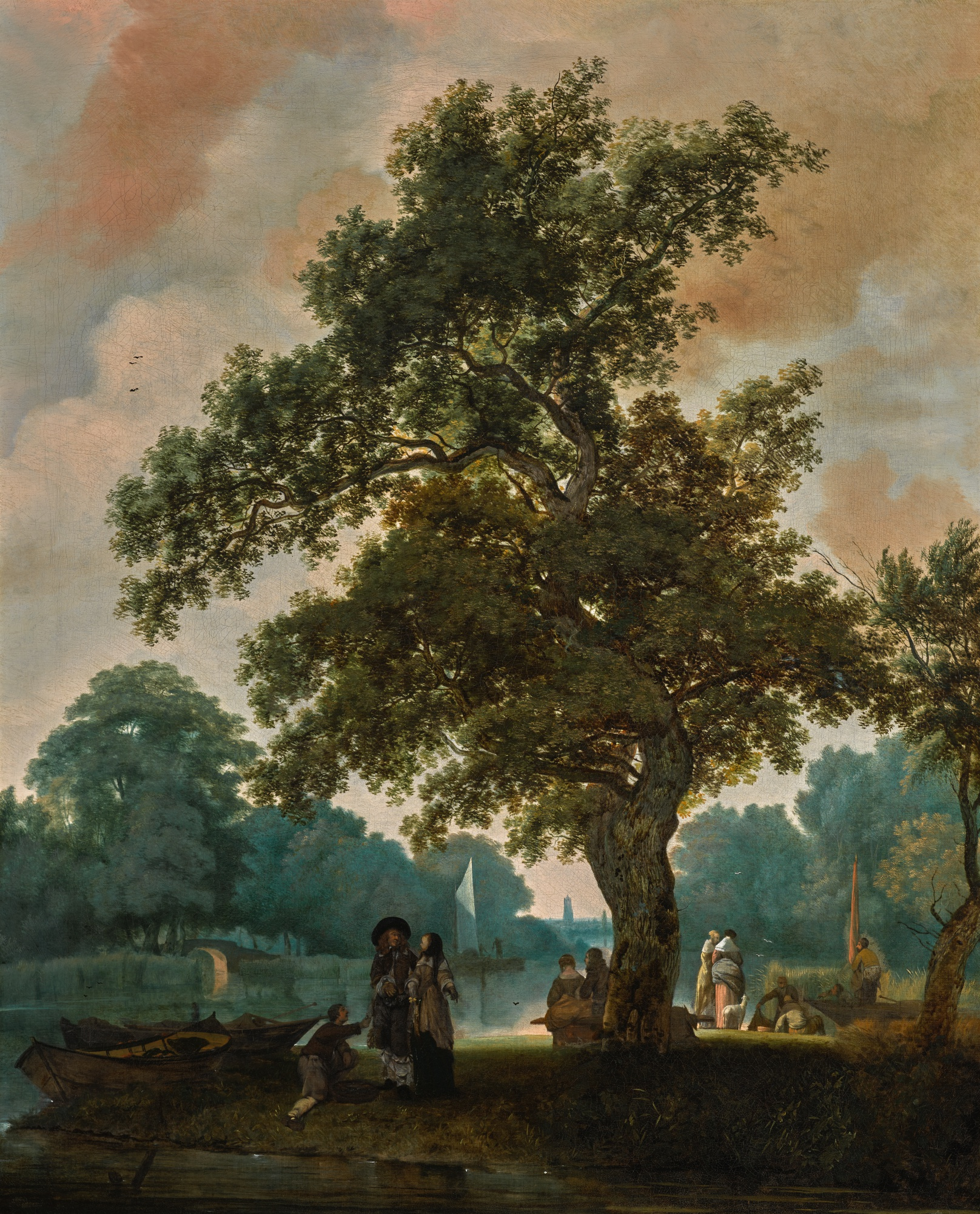 JACOB ESSELENS (Amsterdam 1627/28 - 1687) An elegant company by a lake, with Utrecht Cathedral in the distance