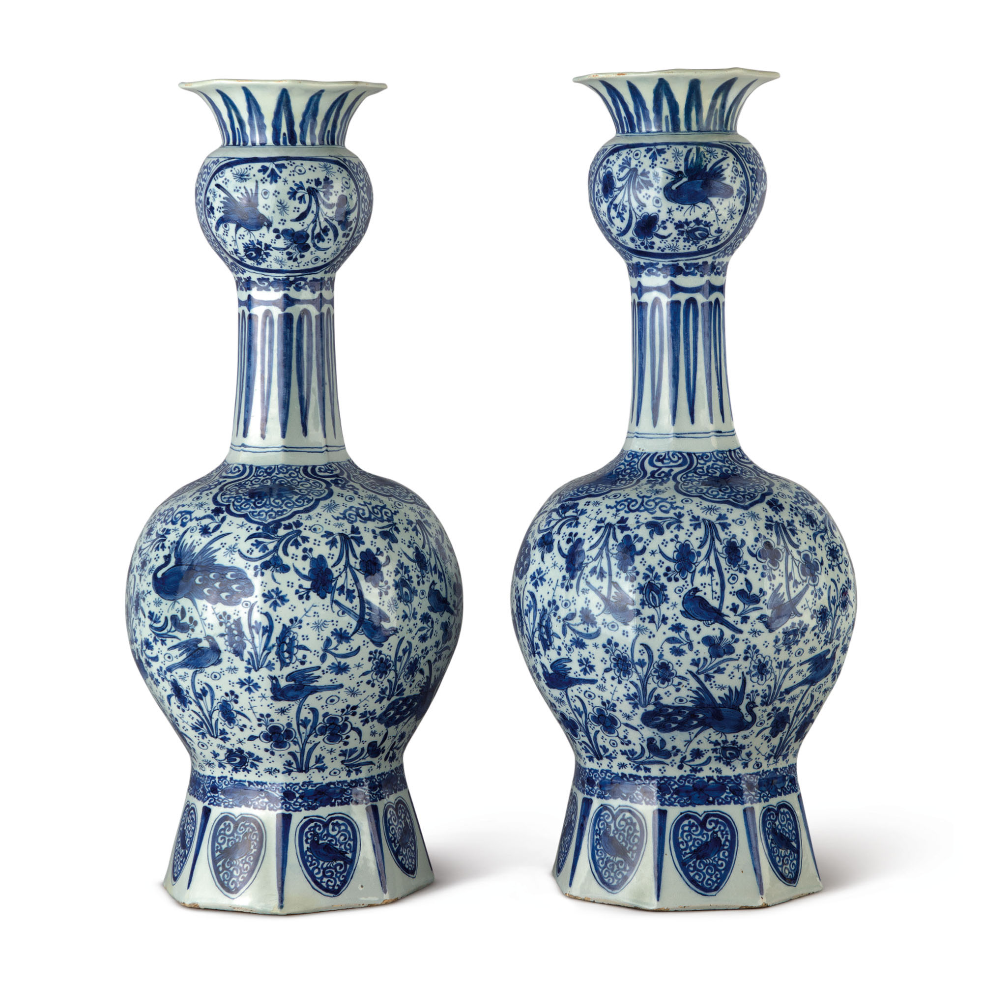 A PAIR OF DUTCH DELFT BLUE AND WHITE LARGE VASES, CIRCA 1700