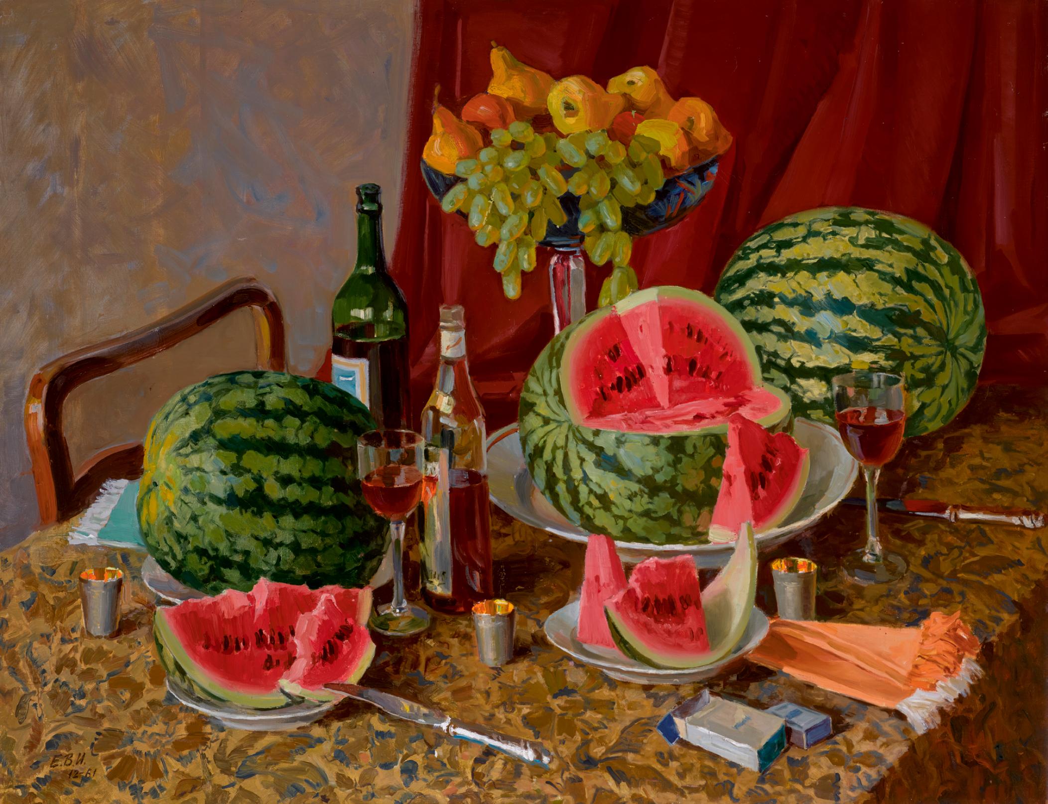 View 1 of Lot 135. VLADIMIR IVANOVICH EREMENKO | Still Life with Watermelon .