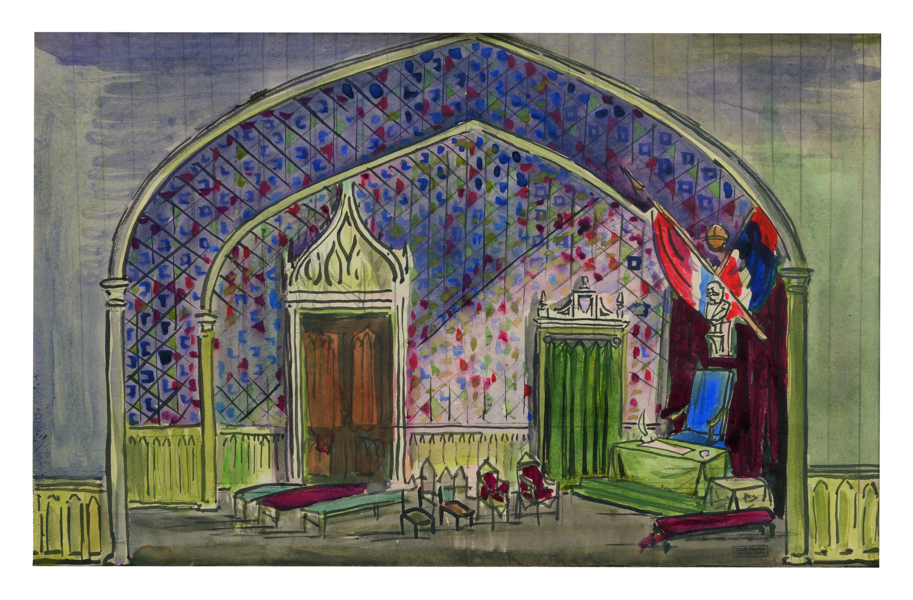 View full screen - View 1 of Lot 23. CECIL BEATON   STAGE DESIGN FOR MEDIEVAL CHAMBER.