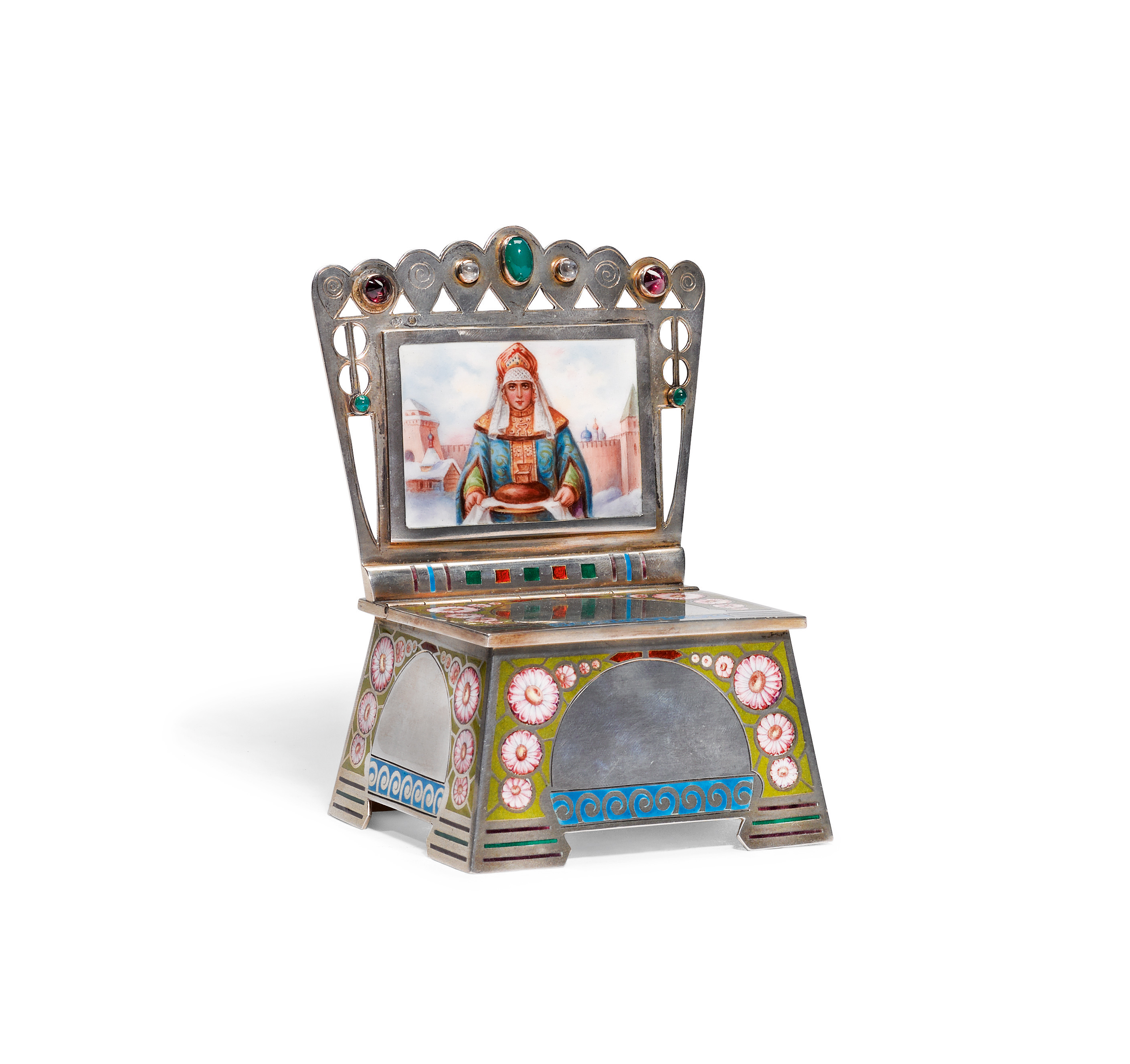 View full screen - View 1 of Lot 315. A Russian silver and pictorial enamel salt throne, Orest Kurlyukov, Moscow, 1908-1917.