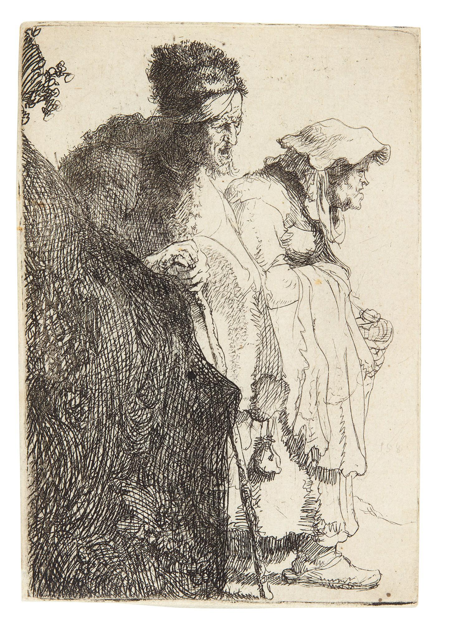 REMBRANDT HARMENSZ. VAN RIJN | BEGGAR MAN AND WOMAN BEHIND A BANK (B., HOLL. 165; NEW HOLL. 51; H. 13)