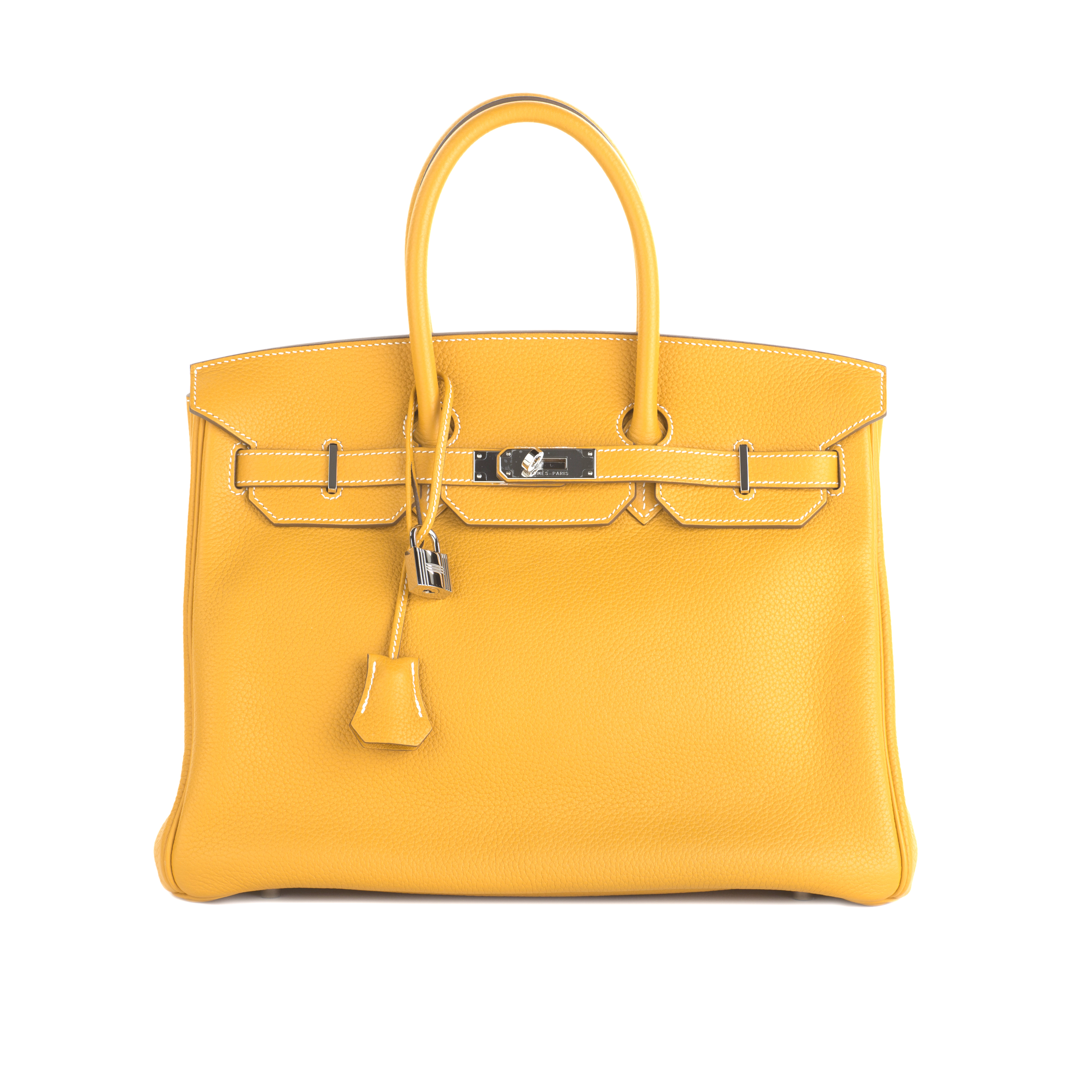 View full screen - View 1 of Lot 704. HERMÈS   JAUNE BIRKIN 35 IN TAURILLON CLEMENCE LEATHER WITH PALLADIUM HARDWARE, 2012.