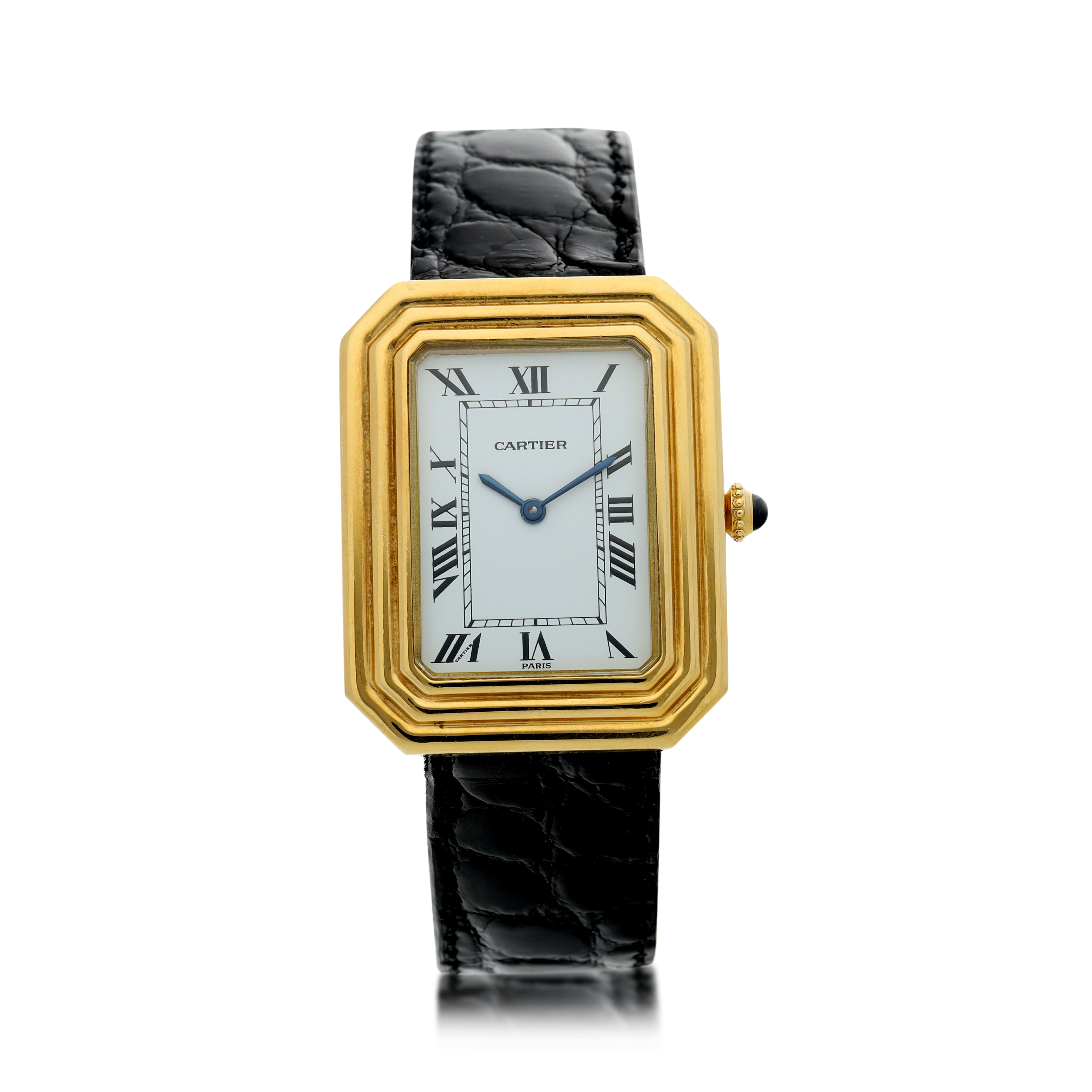 View full screen - View 1 of Lot 65. CHRISTALLOR A YELLOW GOLD RECTANGULAR WRISTWATCH WITH TRIPLE-STEP BEZEL, CIRCA 1970.