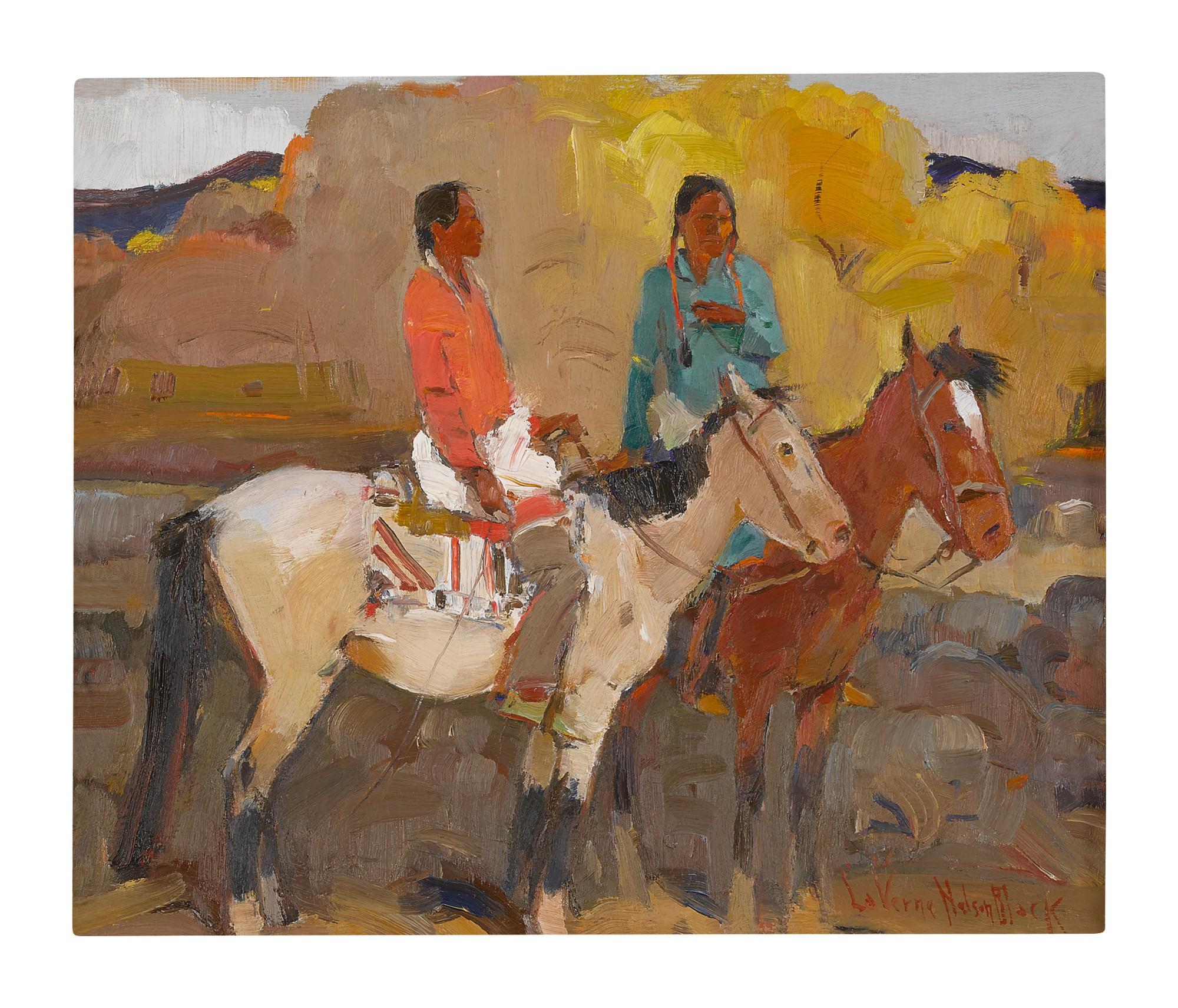 LAVERNE NELSON BLACK | TWO INDIAN MEN ON HORSEBACK