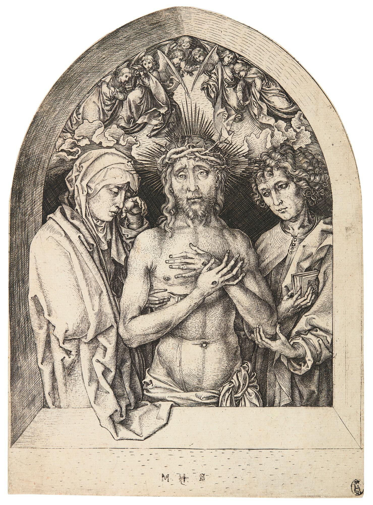 MARTIN SCHONGAUER   THE MAN OF SORROWS BETWEEN THE VIRGIN AND ST JOHN (BARTSCH 69; LEHRS, HOLLSTEIN 34)