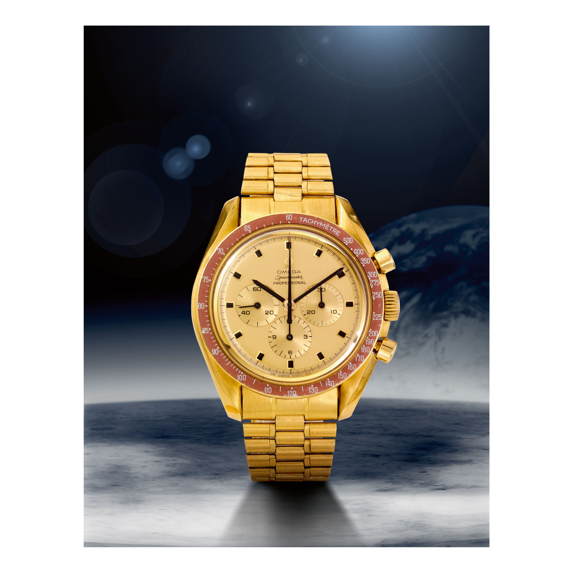 OMEGA | SPEEDMASTER REF 145.022-69 'APOLLO XI 1969',  A YELLOW GOLD CHRONOGRAPH WRISTWATCH WITH BRACELET, MADE IN 1969
