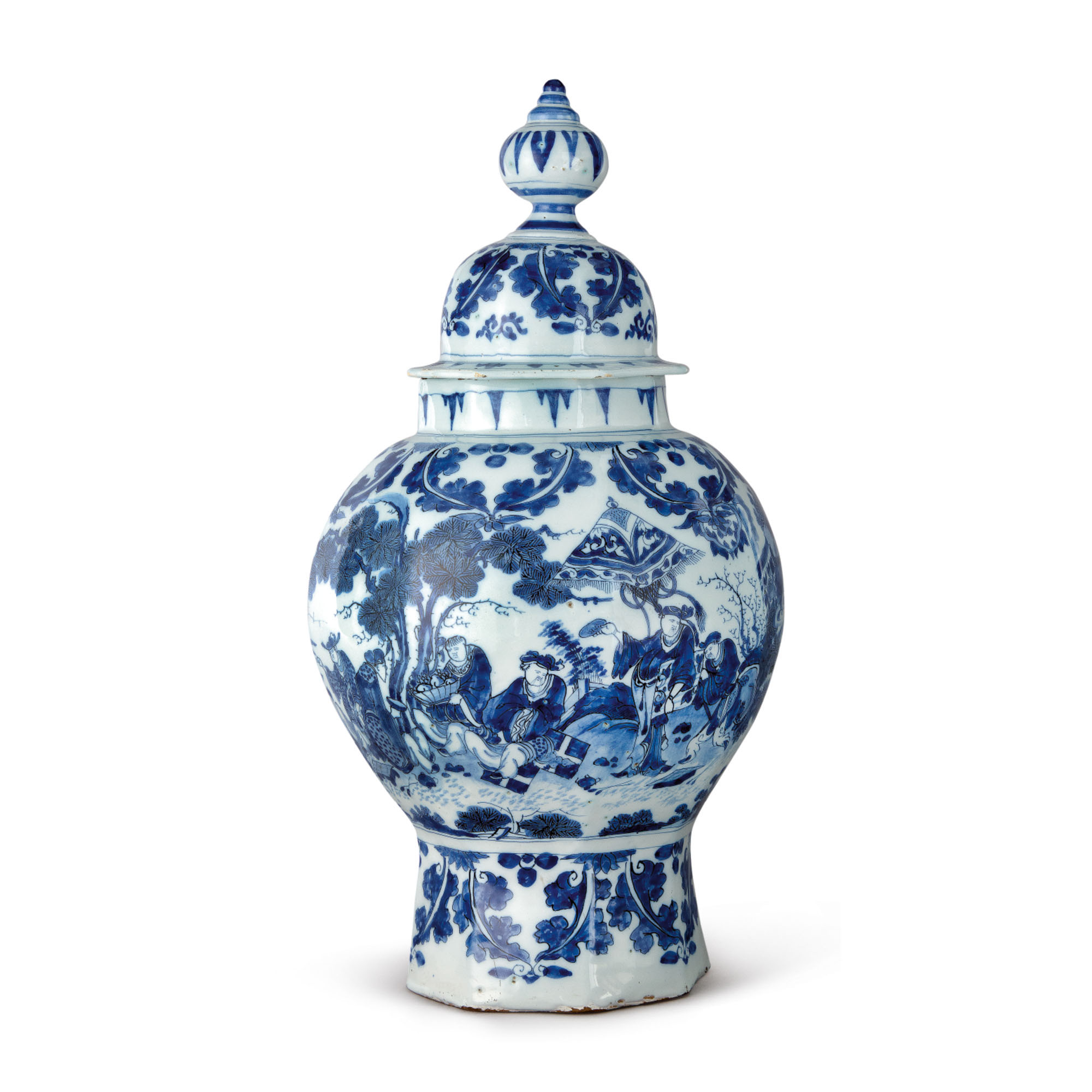 A DUTCH DELFT BLUE AND WHITE OCTAGAONAL BALUSTER VASE AND COVER, LATE 17TH CENTURY