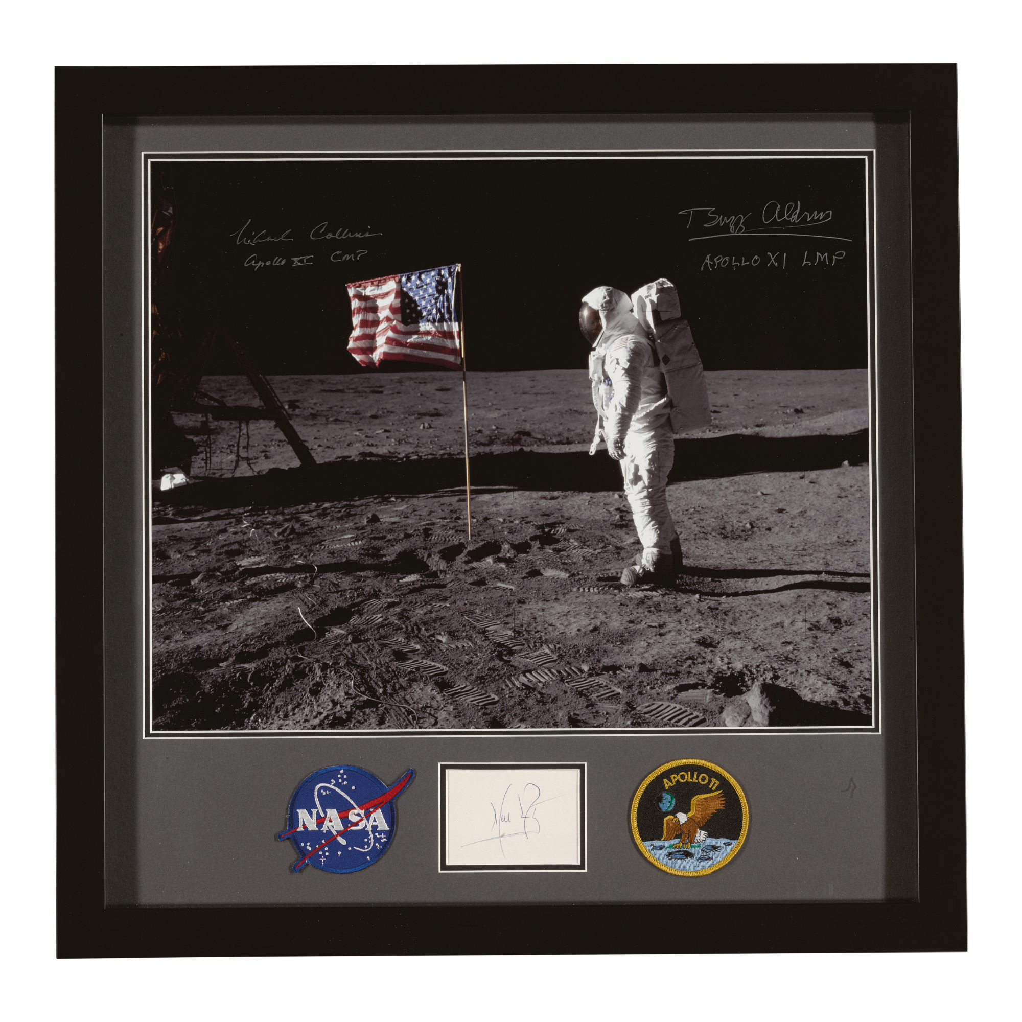 [APOLLO 11]. CREW SIGNED PRESENTATION PHOTOGRAPH AND MISSION EMBLEMS