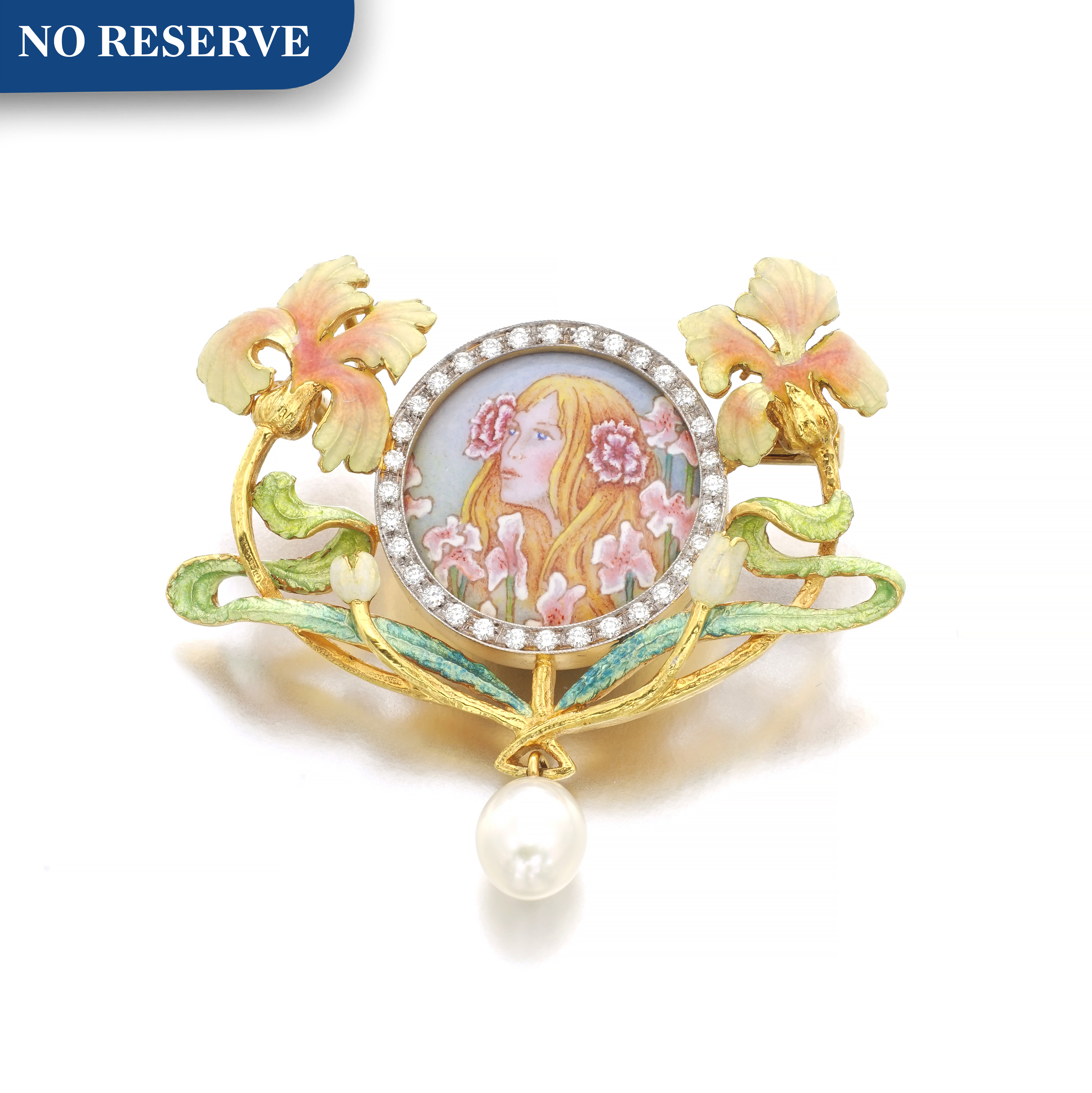 View full screen - View 1 of Lot 40.  MASRIERA   ENAMEL, CULTURED PEARL AND DIAMOND BROOCH.