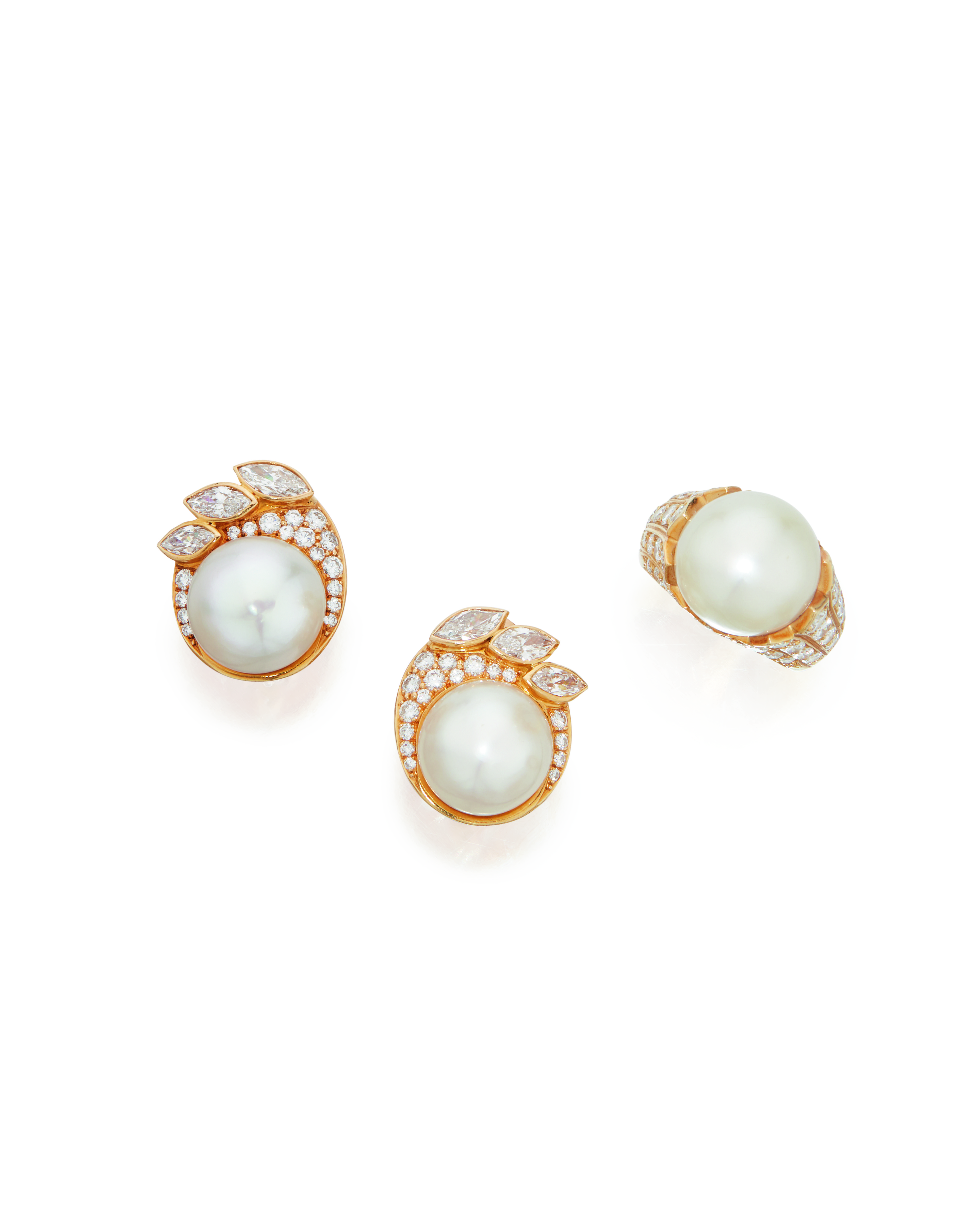 View full screen - View 1 of Lot 56. CULTURED PEARL AND DIAMOND RING AND PAIR OF EARCLIPS, VAN CLEEF & ARPELS.