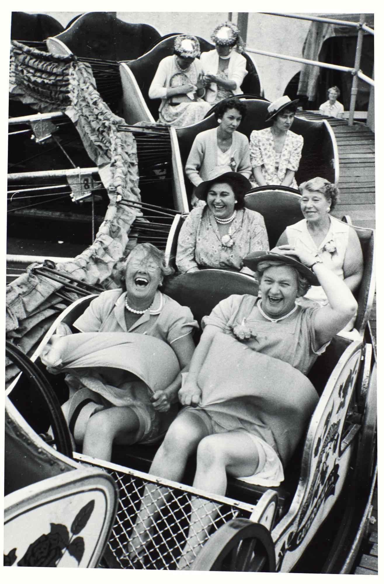 GRACE ROBERTSON | ON THE CATERPILLAR, WOMEN'S PUB OUTING, CLAPHAM, LONDON, 1956