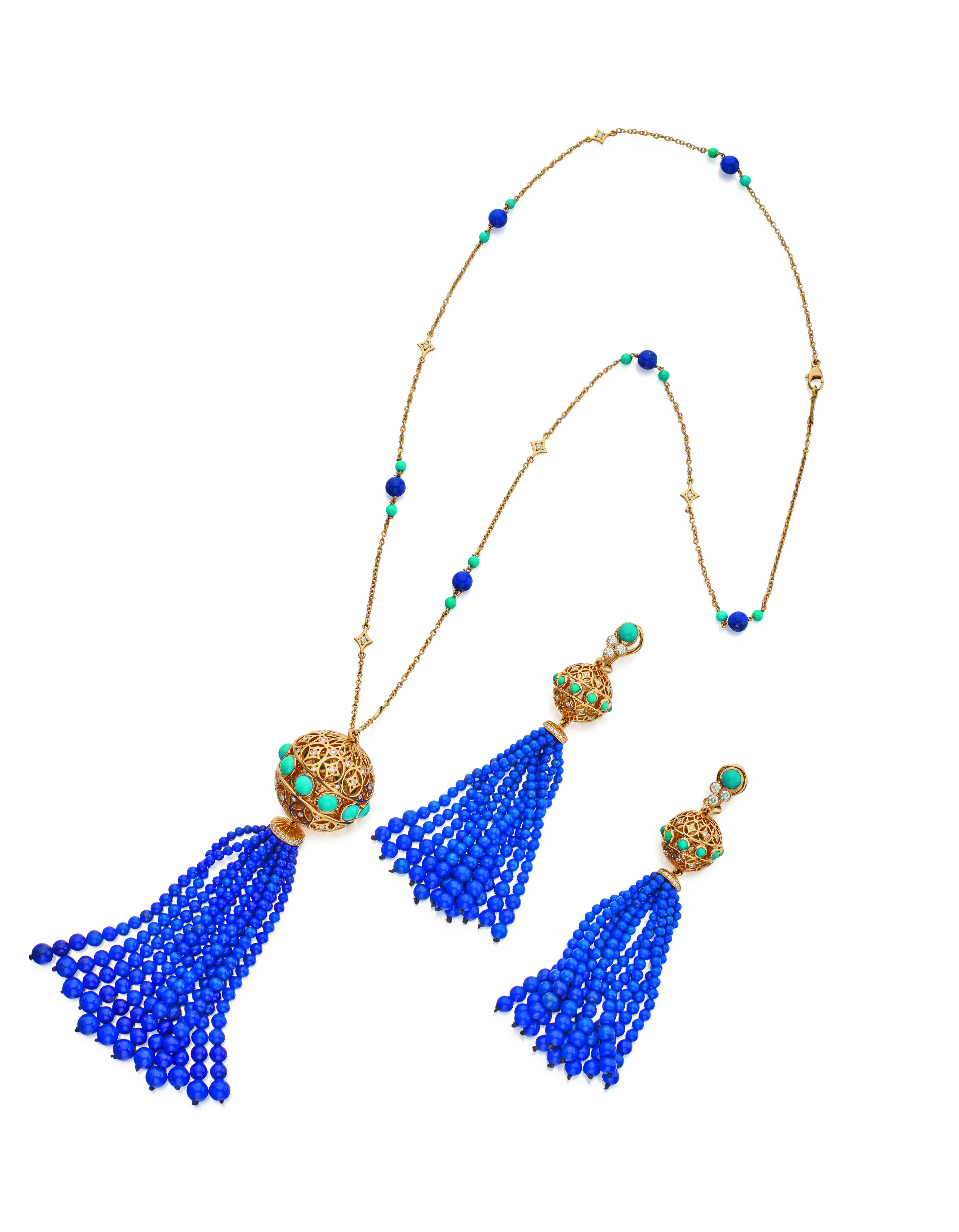 View full screen - View 1 of Lot 13. GOLD, LAPIS LAZULI, TURQUOISE AND DIAMOND 'TASSLE' PENDANT-NECKLACE AND PAIR OF EARCLIPS, PALOMA PICASSO FOR TIFFANY & CO..