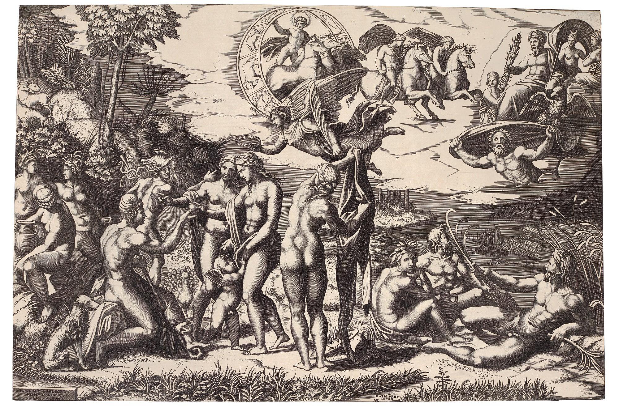 FOLLOWERS OF MARCANTONIO RAIMONDI | THE JUDGEMENT OF PARIS (AFTER MARCANTONIO RAIMONDI, AFTER RAPHAEL); AND THE BIRTH OF ADONIS (AFTER FRANCESCO SALVIATI) (BARTSCH XIX.246, XV.42.12)