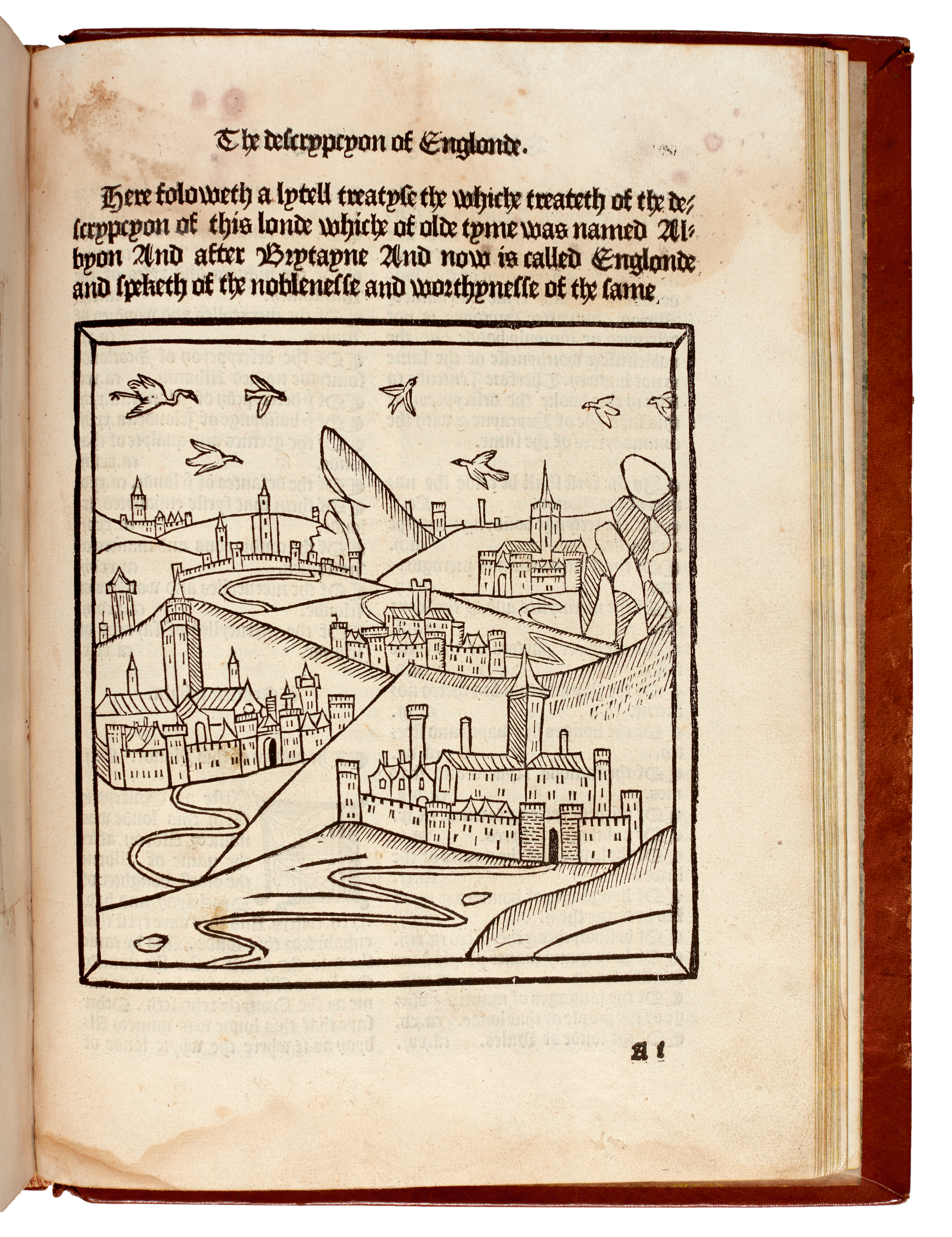 View full screen - View 1 of Lot 98. Chronicles of England; Higden, Descrypcyon of Englonde, Wynkyn de Worde, 1497-1498, later calf gilt.