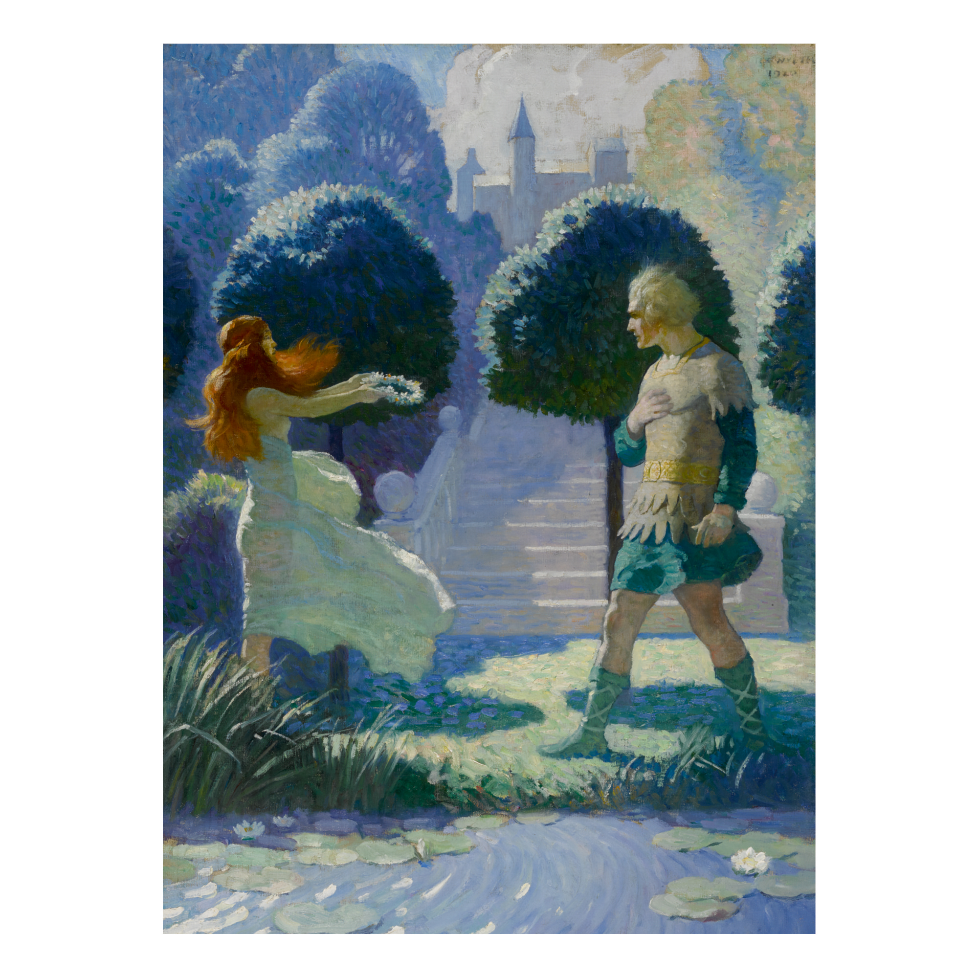 N. C. WYETH   OGIER AND MORGANA (OGIER DISMOUNTED AND TOOK SOME STEPS ALONG THE STREAM, BUT WAS SOON STOPPED BY MEETING A YOUNG BEAUTY, SUCH AS THEY PAINT THE GRACES.)