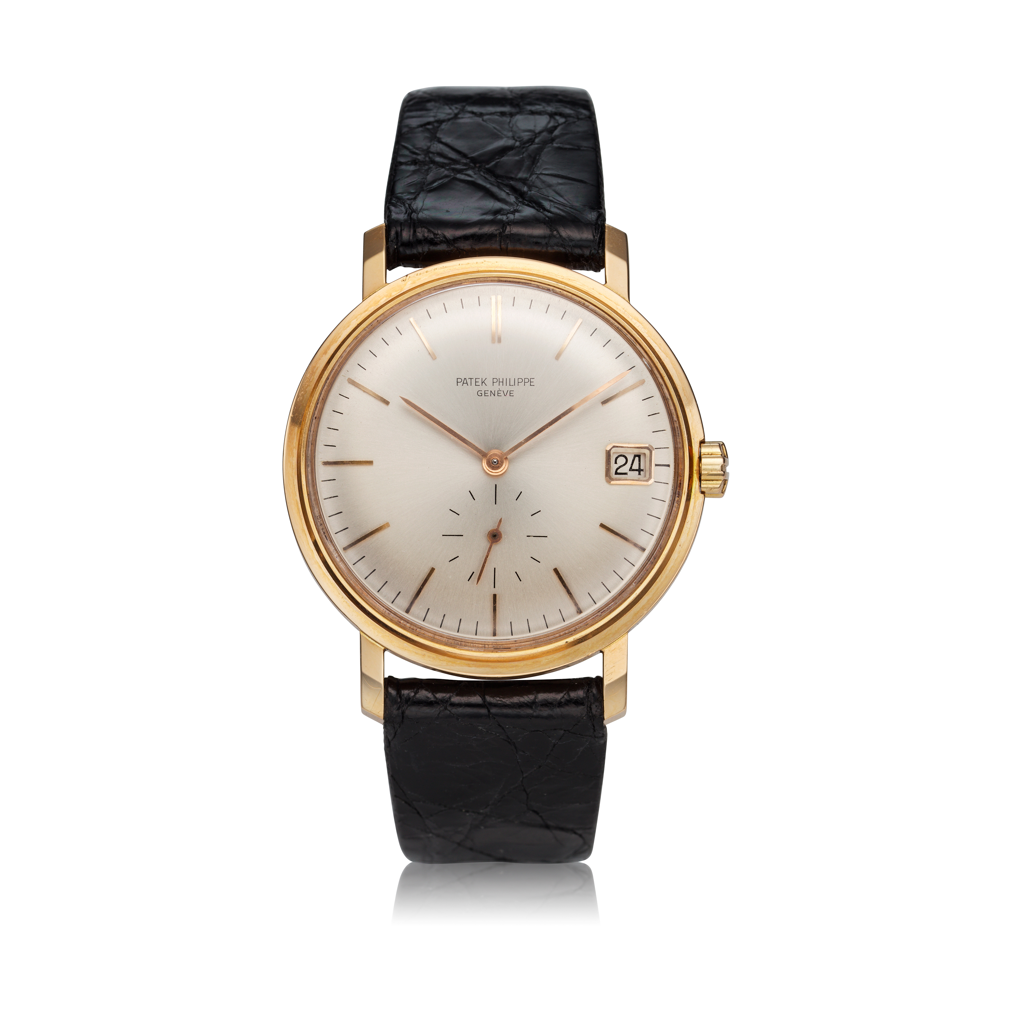 View full screen - View 1 of Lot 247. Reference 3445  A pink gold automatic wristwatch with date, Made in 1963.