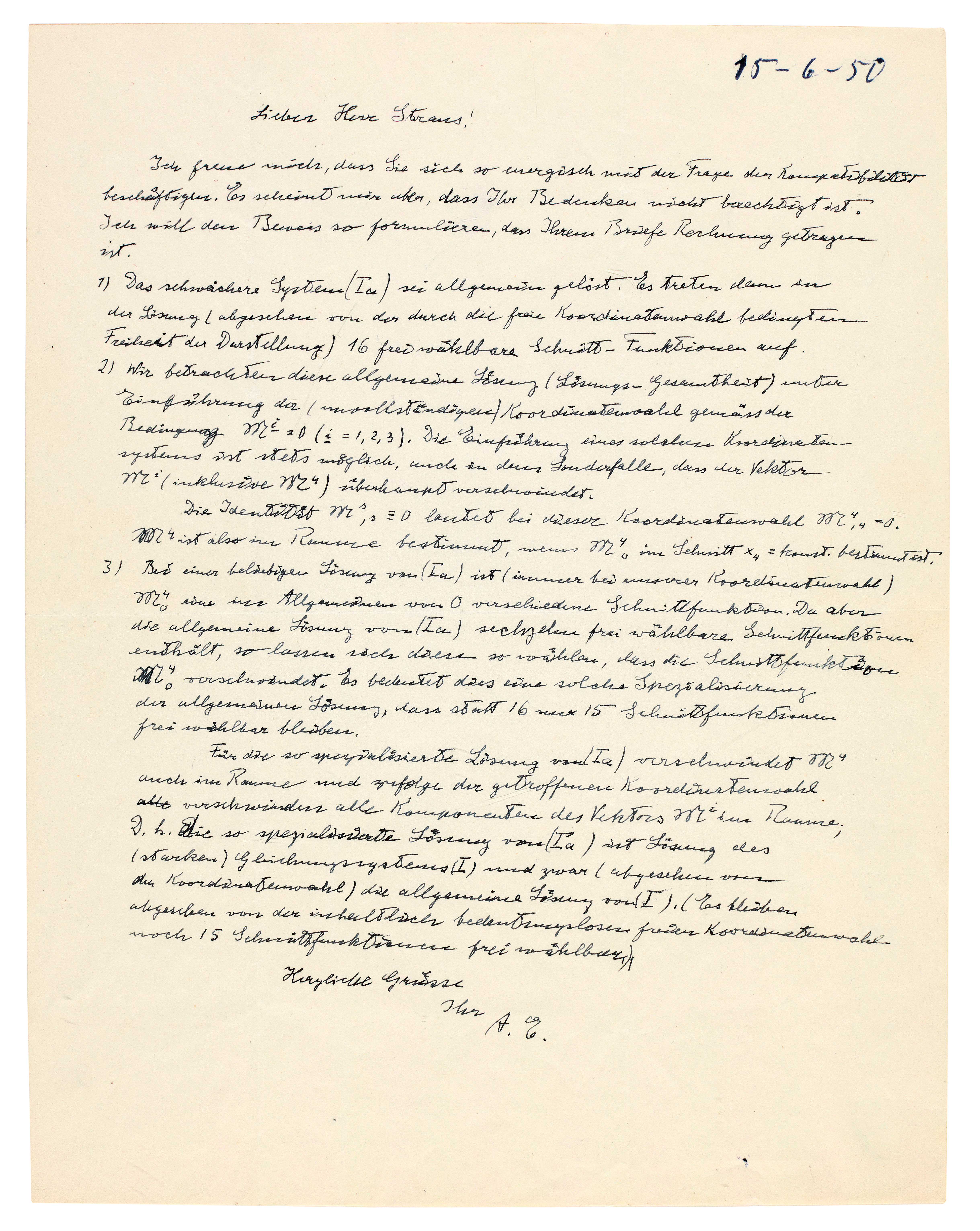 """View 1 of Lot 69. A. Einstein. Autograph letter signed (""""A.E."""") about representing curved space-time in his Unified Field Theory, [1950] ."""