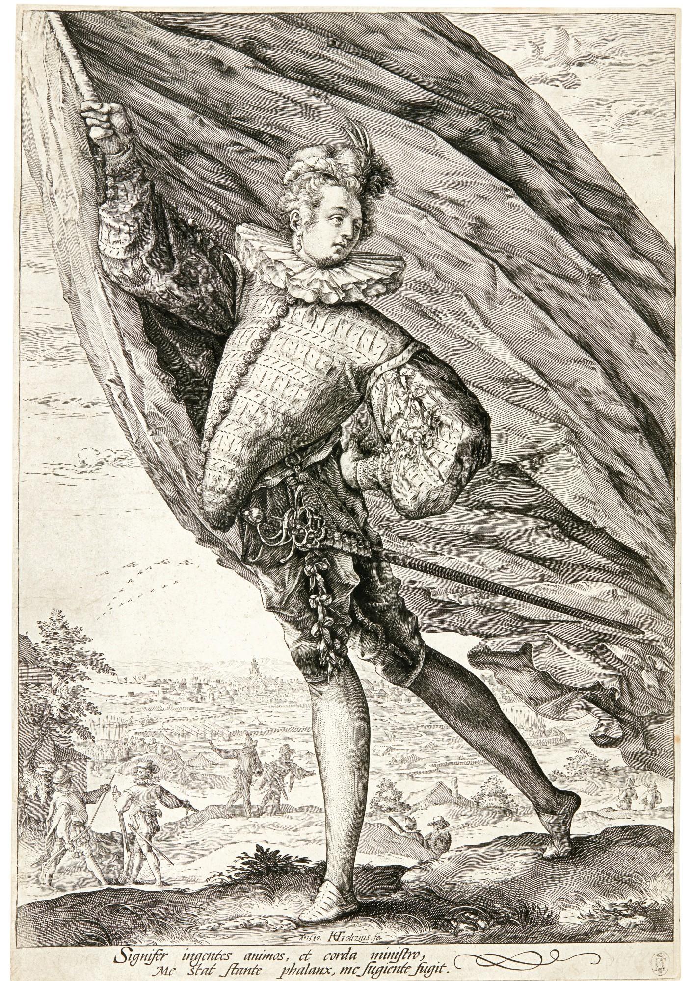 HENDRICK GOLTZIUS   THE GREAT STANDARD-BEARER (B. 125; HOLL. 255; NEW HOLL. 288; S. 253)