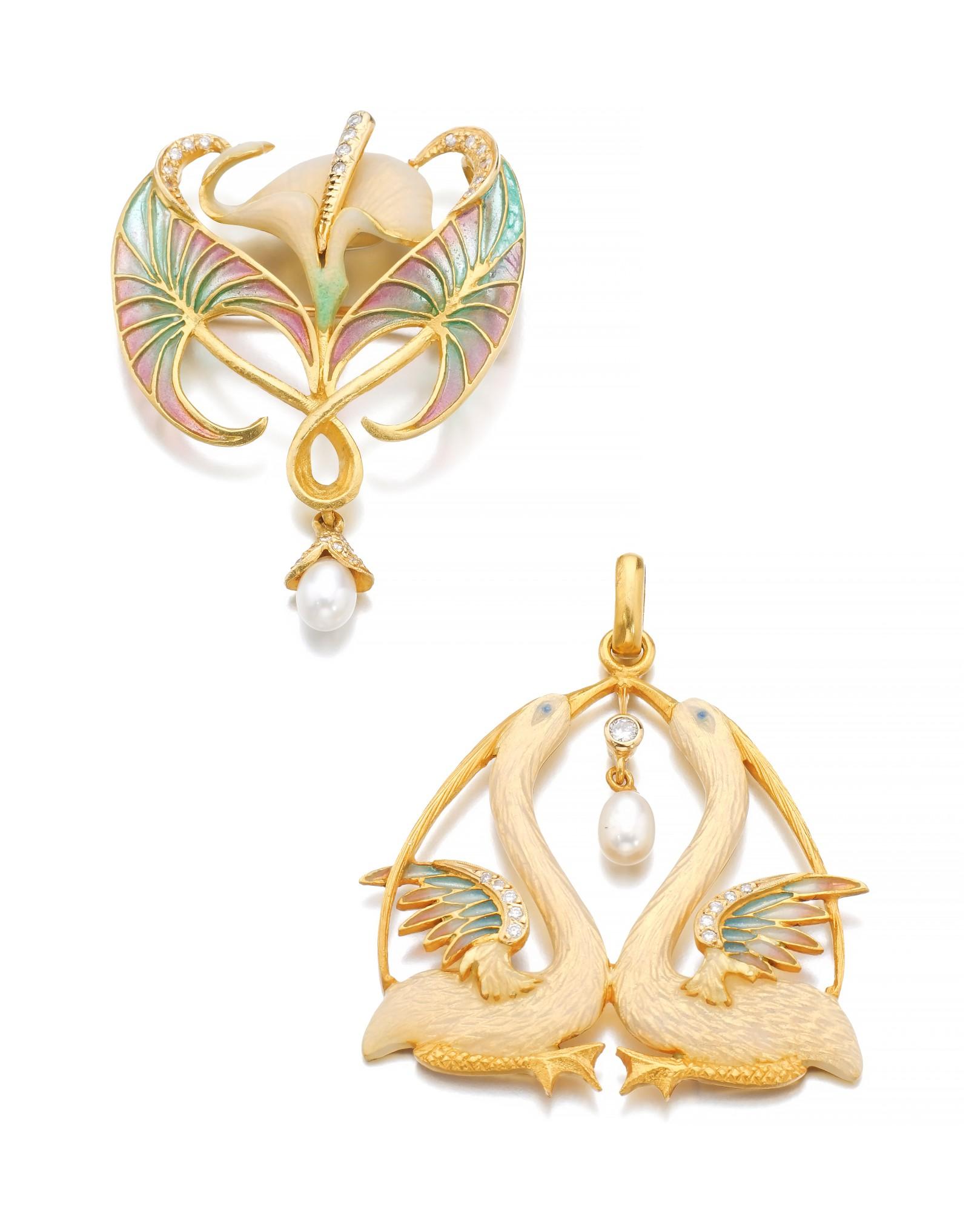 TWO ENAMEL, CULTURED PEARL AND DIAMOND PENDANTS | MASRIERA