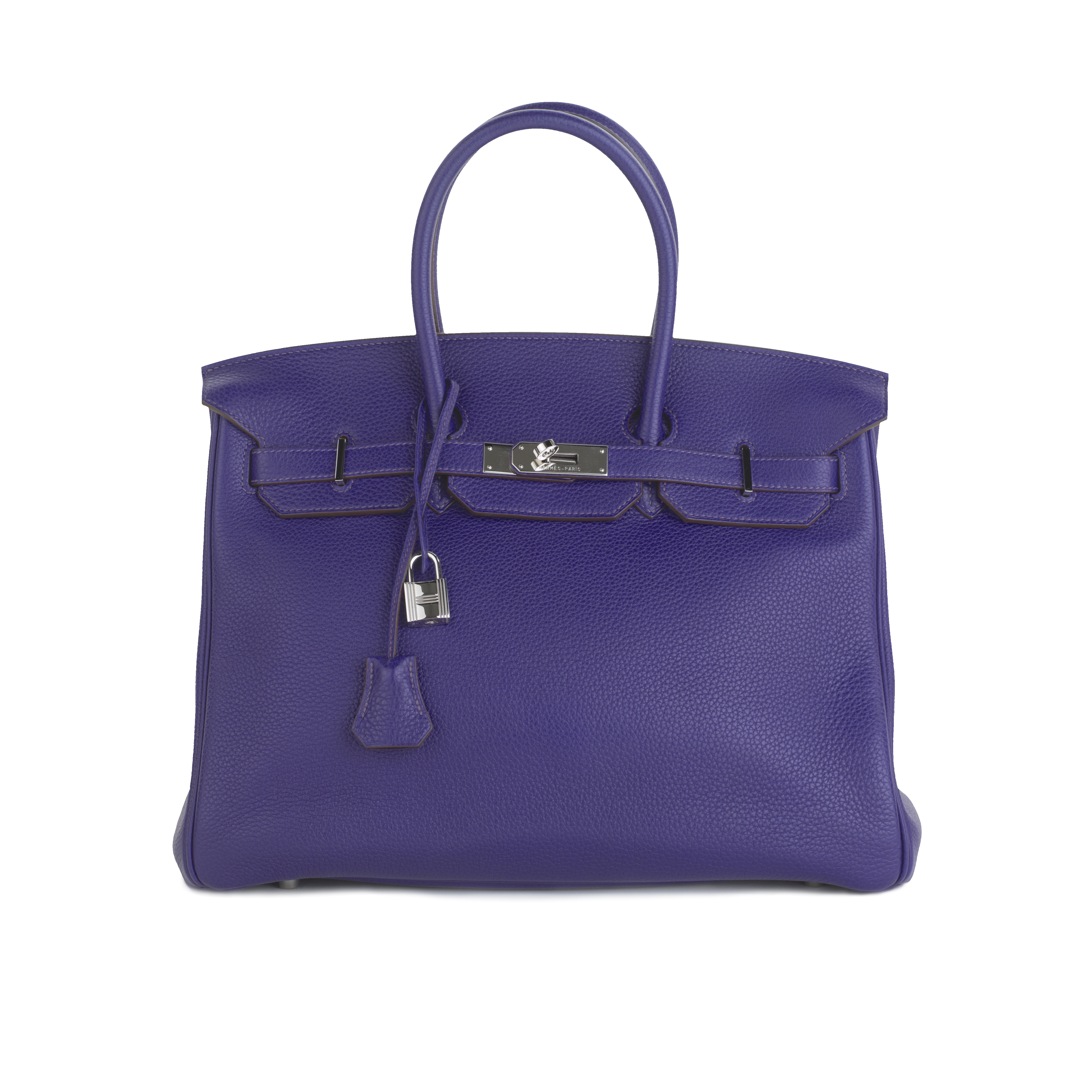 View full screen - View 1 of Lot 717. HERMÈS | ULTRAVIOLET BIRKIN 35 IN TAURILLON CLEMENCE LEATHER WITH PALLADIUM HARDWARE, 2010.