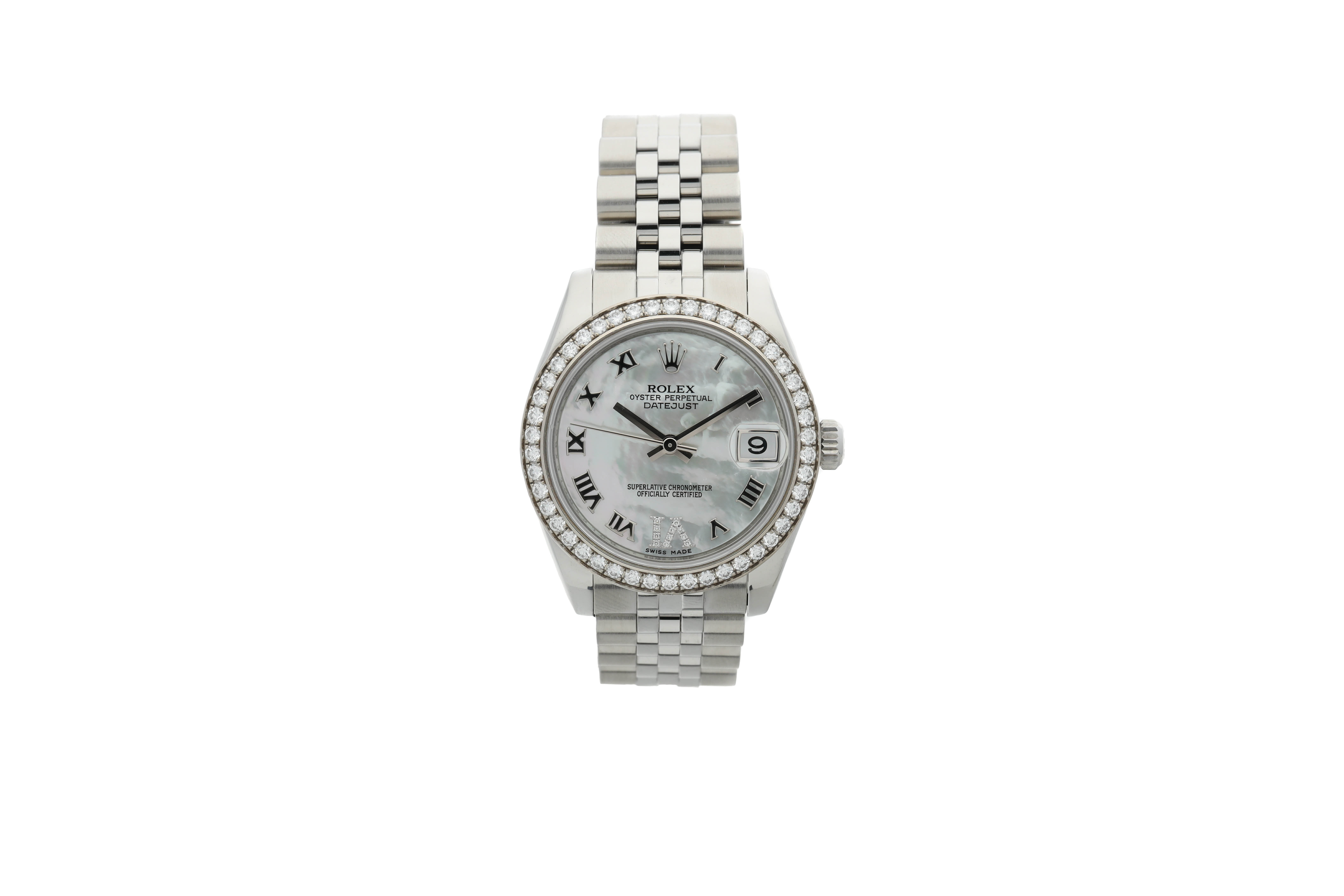 View full screen - View 1 of Lot 462. ROLEX   REFERENCE 178384 DATEJUST  A STAINLESS STEEL AND DIAMOND-SET AUTOMATIC WRISTWATCH WITH DATE AND BRACELET, CIRCA 2010.