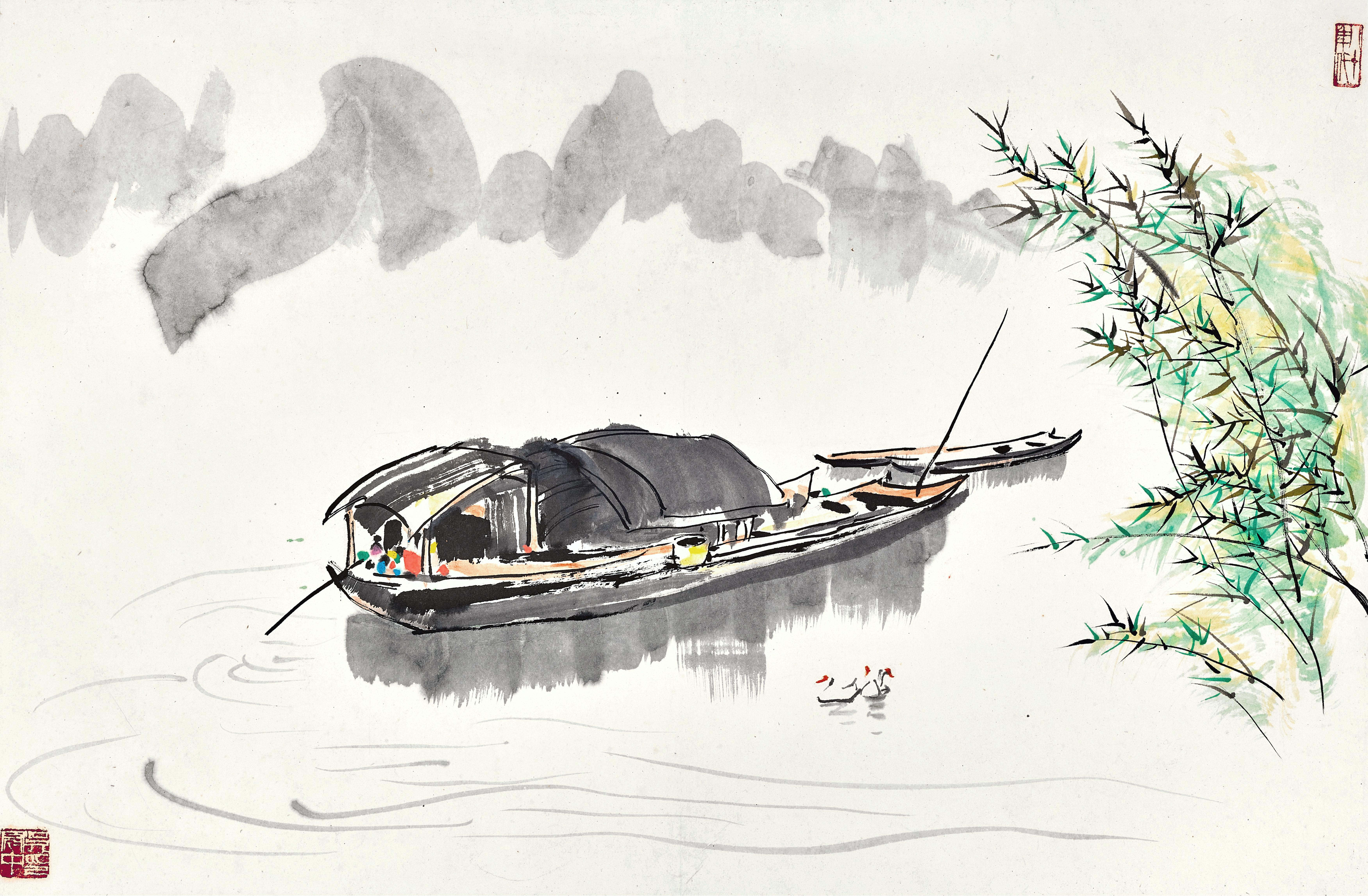 View full screen - View 1 of Lot 3028. 吳冠中 Wu Guanzhong   湖畔小舟 Boats by the Shore.