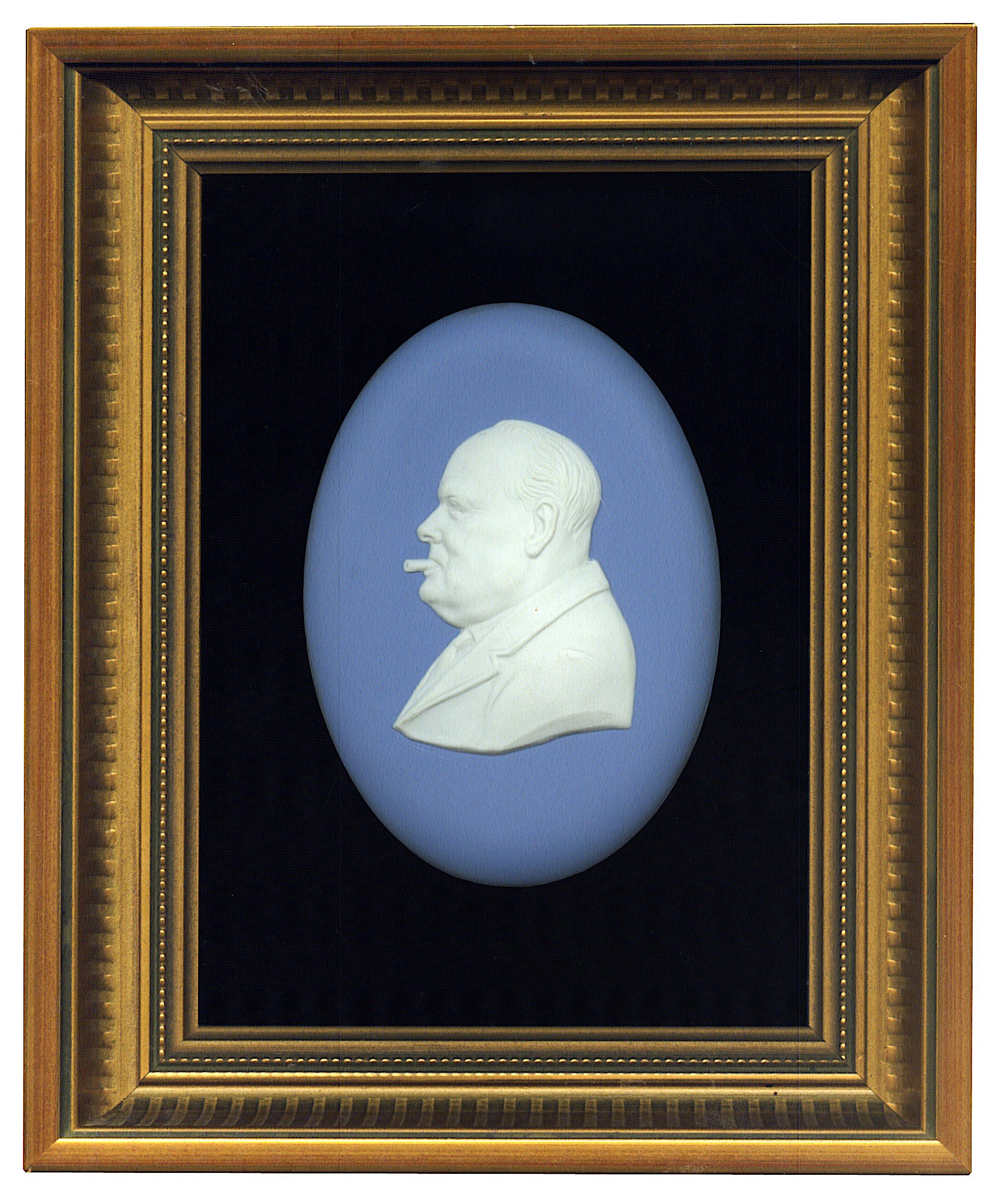 View full screen - View 1 of Lot 86.  [Winston Churchill] — Arnold Machin, artist   Wedgwood Portrait Medalion, commemorating Churchill's 90th birthday, 1964.