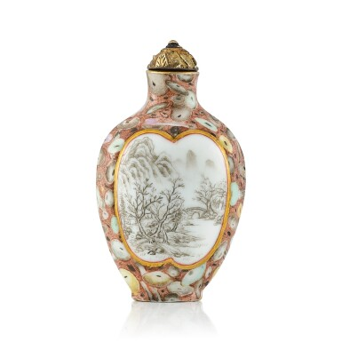 View 1. Thumbnail of Lot 3028. An Inscribed Puddingstone-Imitation Porcelain Snuff Bottle Qing Dynasty, Qianlong - Jiaqing Period | 清乾隆至嘉慶 粉彩仿抱子石光開山水鼻煙壺.