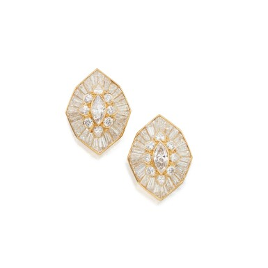View 1. Thumbnail of Lot 49. Pair of Diamond Earclips.