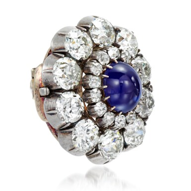 View 2. Thumbnail of Lot 156. From the Collection of Her Royal Highness The Princess Margaret, Countess of Snowdon: Sapphire and diamond brooch, 1890s.