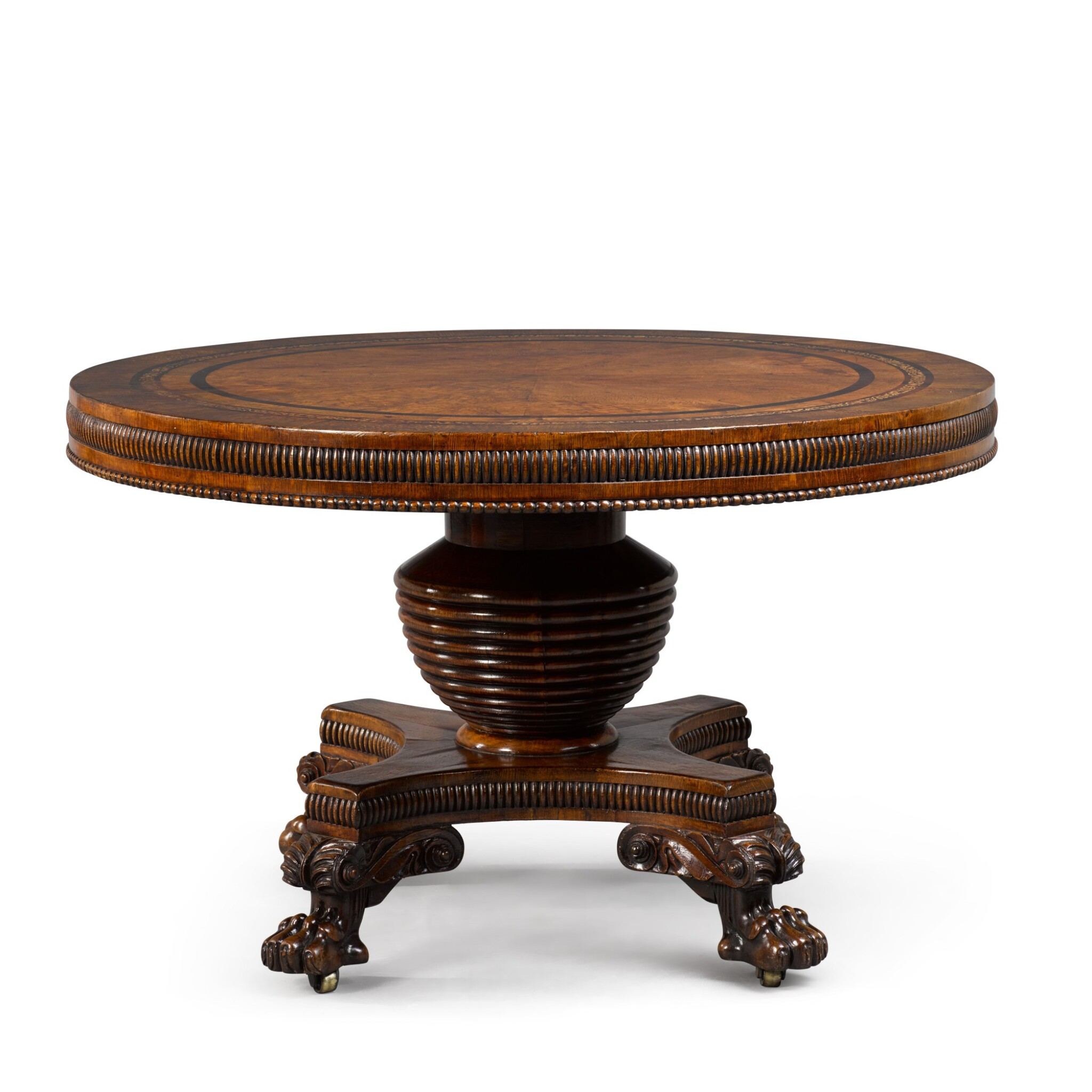 View full screen - View 1 of Lot 106. A GEORGE IV BURR OAK, ROSEWOOD AND MARQUETRY CENTRE TABLE BY JOSEPH AND SAMUEL HARPER.