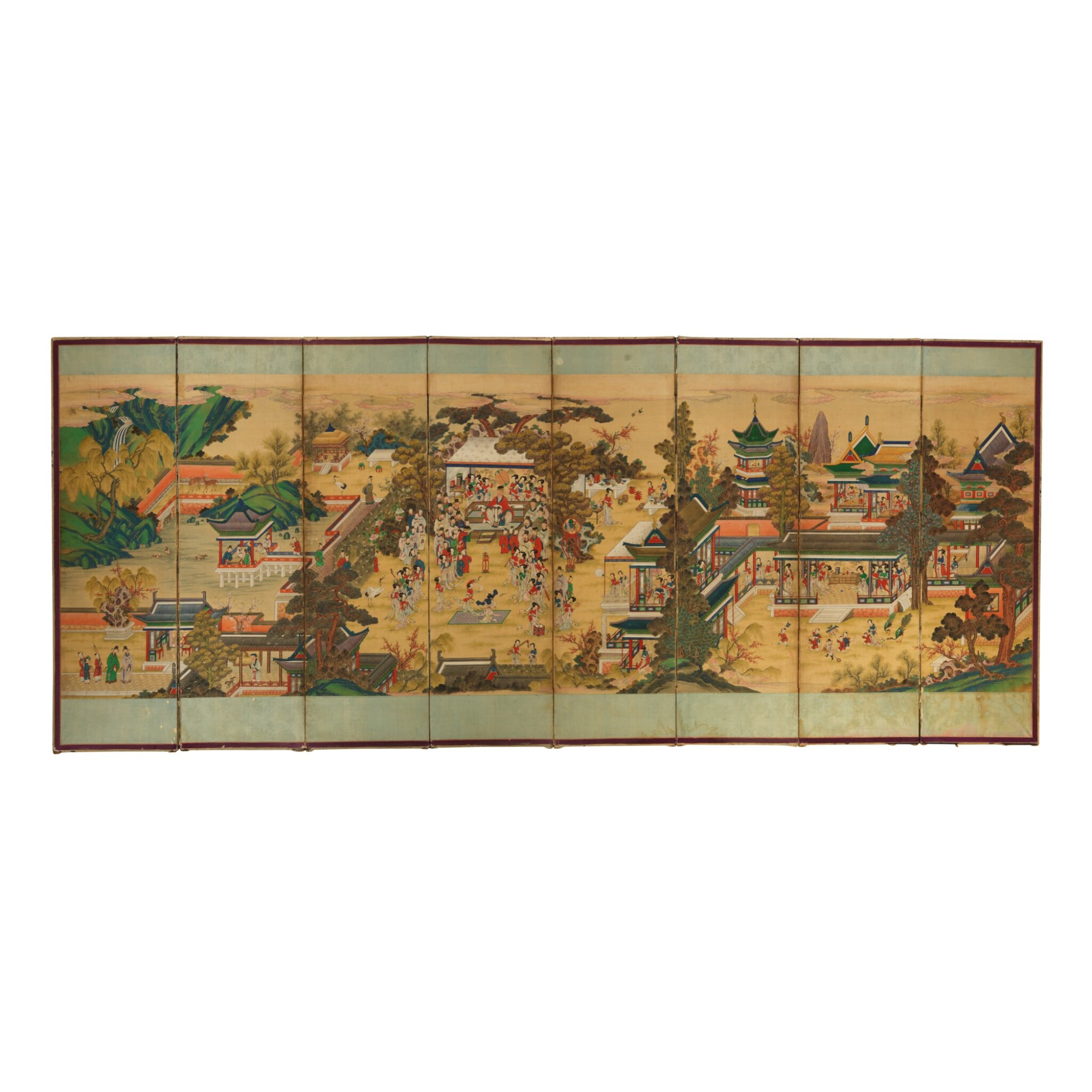 View full screen - View 1 of Lot 566. A CHINESE EIGHT-PANEL PAINTED 'BIRTHDAY CELEBRATION' SCREEN, 20TH CENTURY.