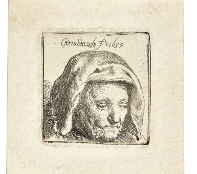 View 1. Thumbnail of Lot 59. REMBRANDT HARMENSZ. VAN RIJN | THE ARTIST'S MOTHER IN A CLOTH HEADDRESS, LOOKING DOWN: HEAD ONLY (B., HOLL. 351; NEW HOLL. 121; H. 107).