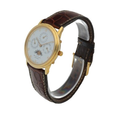 View 2. Thumbnail of Lot 67. Yellow gold perpetual calendar wristwatch with moon phases Circa 1995.