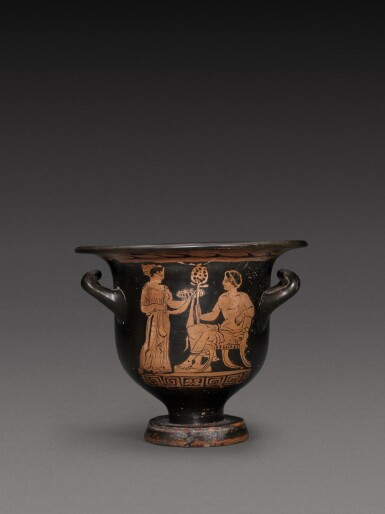 View 1. Thumbnail of Lot 59. An Apulian Red-figured Bell Krater, circa 350-340 B.C..