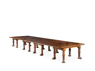 View 1. Thumbnail of Lot 60. AN IMPORTANT REGENCY CARVED MAHOGANY EXTENDING DINING TABLE, FIRST QUARTER 19TH CENTURY, IN THE MANNER OF GILLOWS.