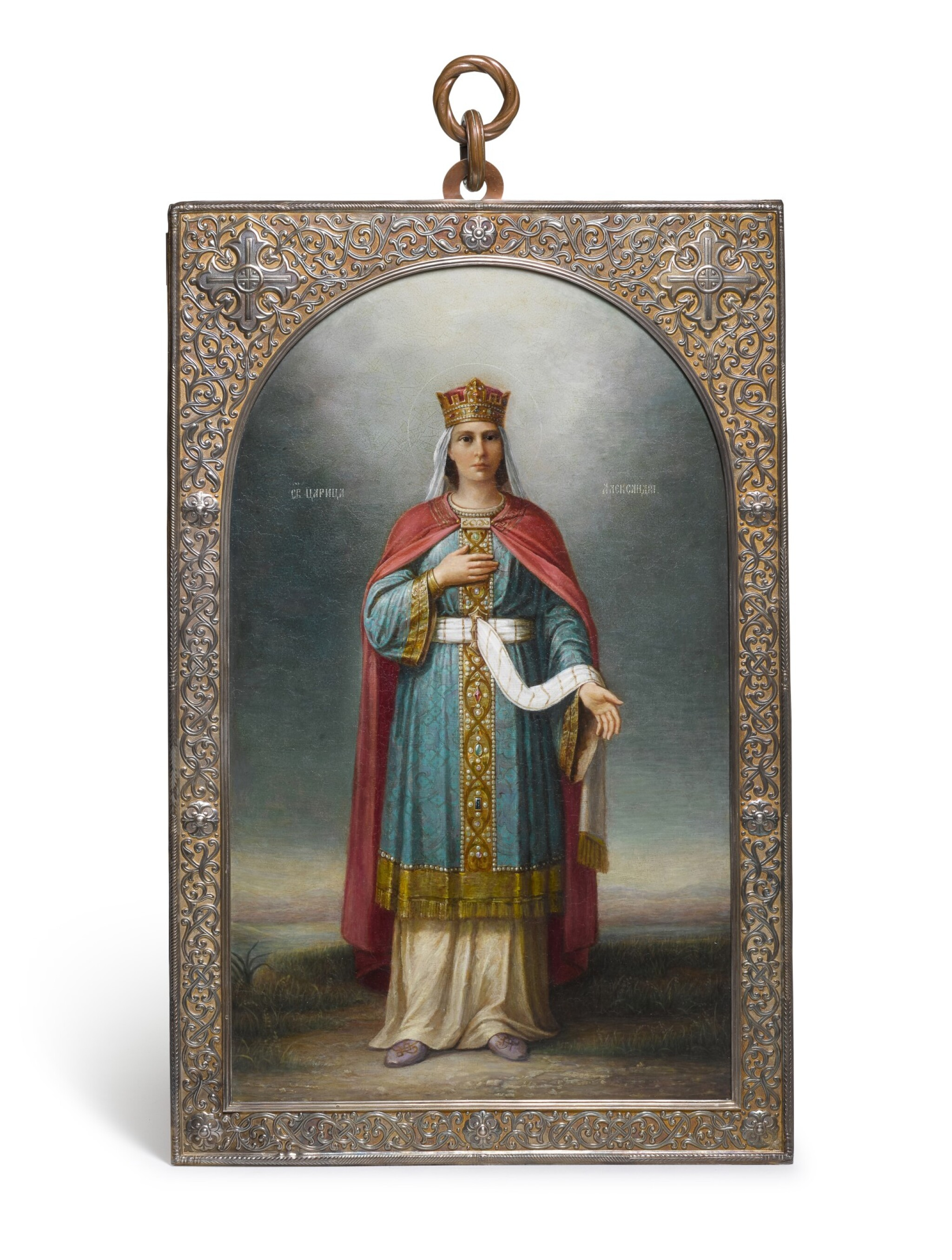 View full screen - View 1 of Lot 218. A LARGE SILVER-GILT PRESENTATION ICON OF THE MARTYR SAINT ALEXANDRA OF ROME, PAVEL OVCHINNIKOV, MOSCOW, 1909.