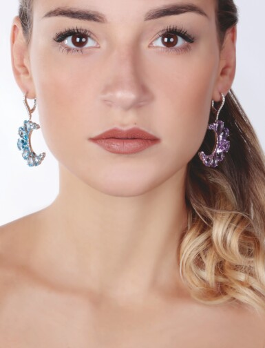 View 6. Thumbnail of Lot 14. PAIR OF AMETHYST, BLUE TOPAZ AND DIAMOND EARRINGS, MICHELE DELLA VALLE.