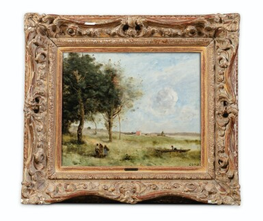 View 2. Thumbnail of Lot 75. Landscapes with peasants, a fisherman beyond.