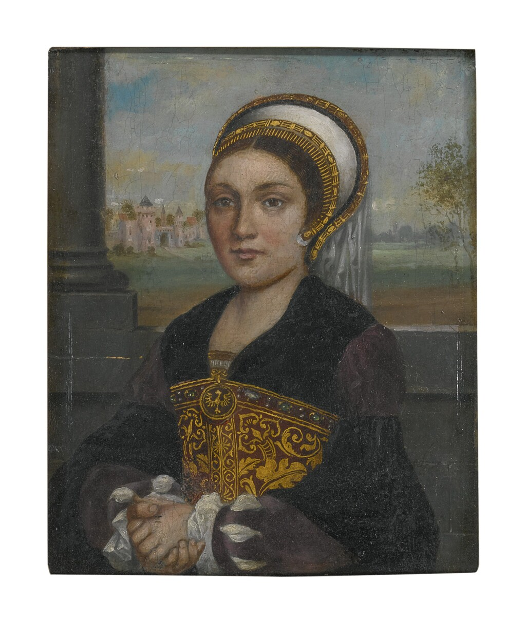 MANNER OF HANS HOLBEIN, CIRCA 1900   PORTRAIT OF A LADY, HALF LENGTH, WITH AN ELABORATE FRENCH HOOD AND VEIL, FACING LEFT
