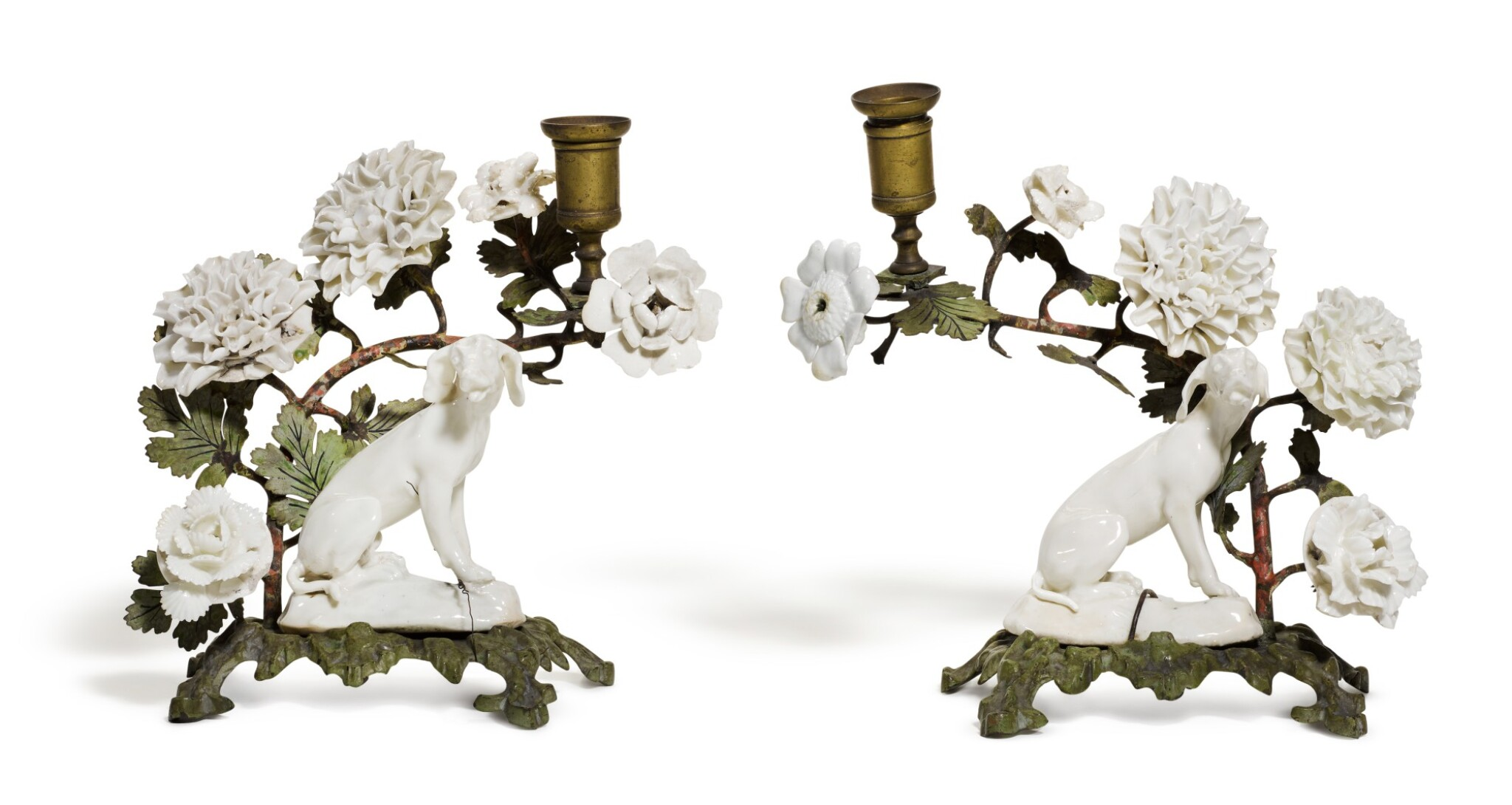 View full screen - View 1 of Lot 143. A pair of 'Girl-in-a-Swing' porcelain and tole peint-mounted candlesticks, circa 1755, Charles Gouyn's factory, St. James's.