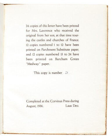 View 2. Thumbnail of Lot 121.  LAWRENCE, T.E. | A Letter...to his Mother, Corvinus Press, 1936, no.23/24 copies.