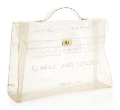 Transparent vinyl and yellow hardware handbag, Kelly 40 Beach bag, Hermès, 1999