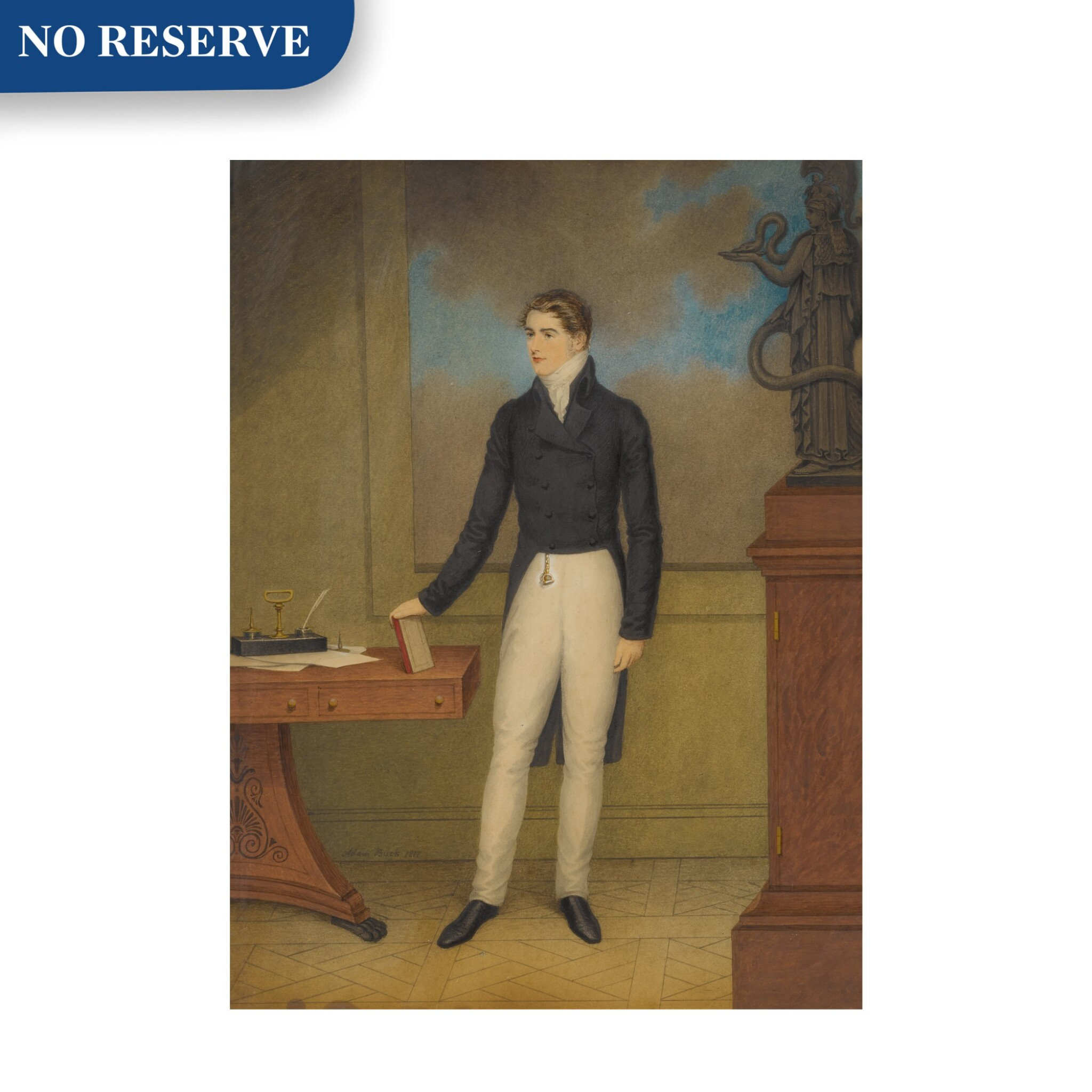 View full screen - View 1 of Lot 164. Portrait of a Young Man, Standing by a Desk in an Interior.