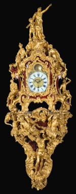 AN AUSTRIAN ROCOCO CARVED GILTWOOD BRACKET CLOCK, MID-18TH CENTURY, DIAL AND MOVEMENT ASSOCIATED