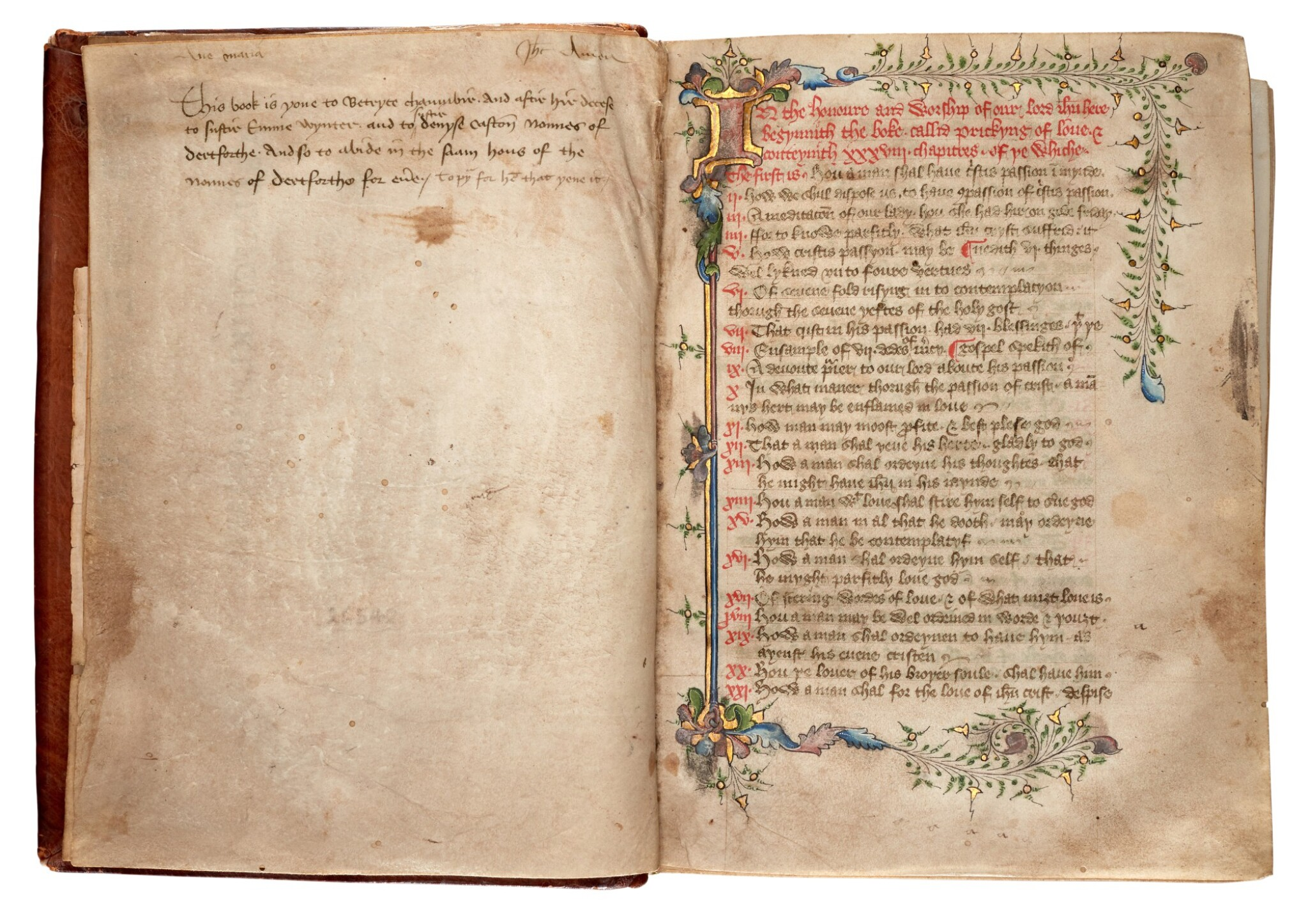 View full screen - View 1 of Lot 1. JAMES OF MILAN | Pricking of love, illuminated manuscript in Middle English [England, fifteenth century].
